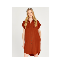 Apricot Sleeveless Button Up Shirt Dress