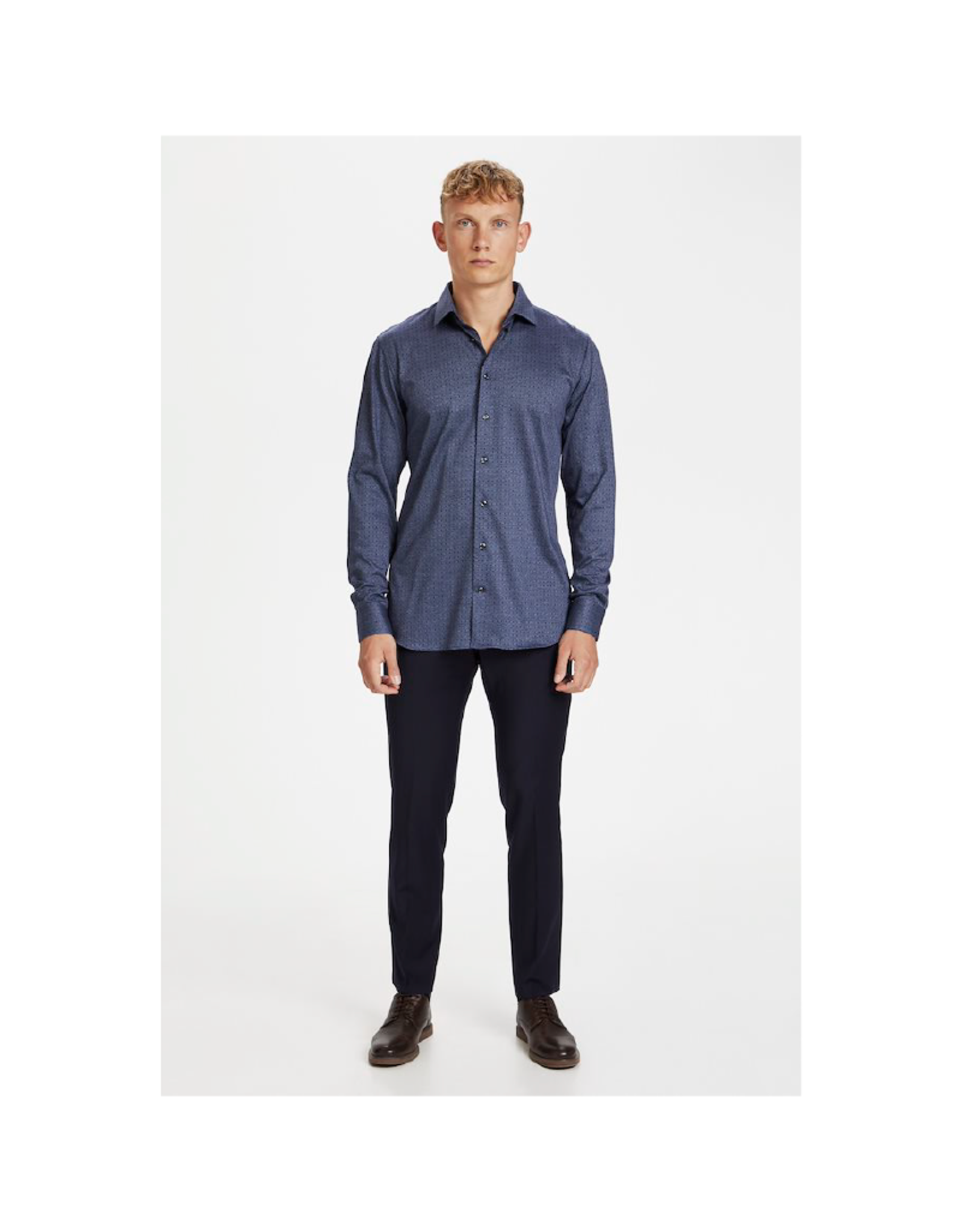 Matinique Marc Slim Jersey Mini Squares Long-Sleeve Button Up