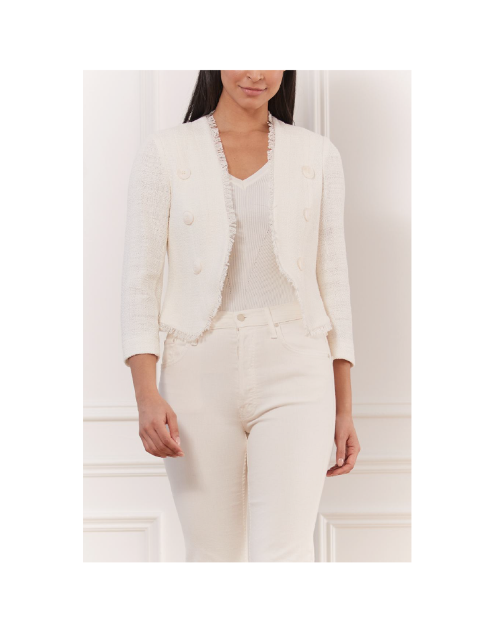Iris Chanel Tweed Cropped Open Jacket