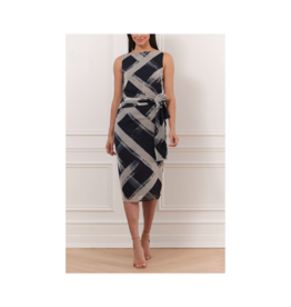 Iris Printed Plaid Self Belt Dress