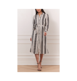 Iris Striped Belted Button Down Dress