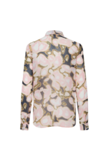 ICHI Printed Button-Up Blouse
