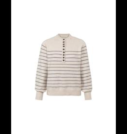 YaYa Balloon Sleeve Striped Sweater