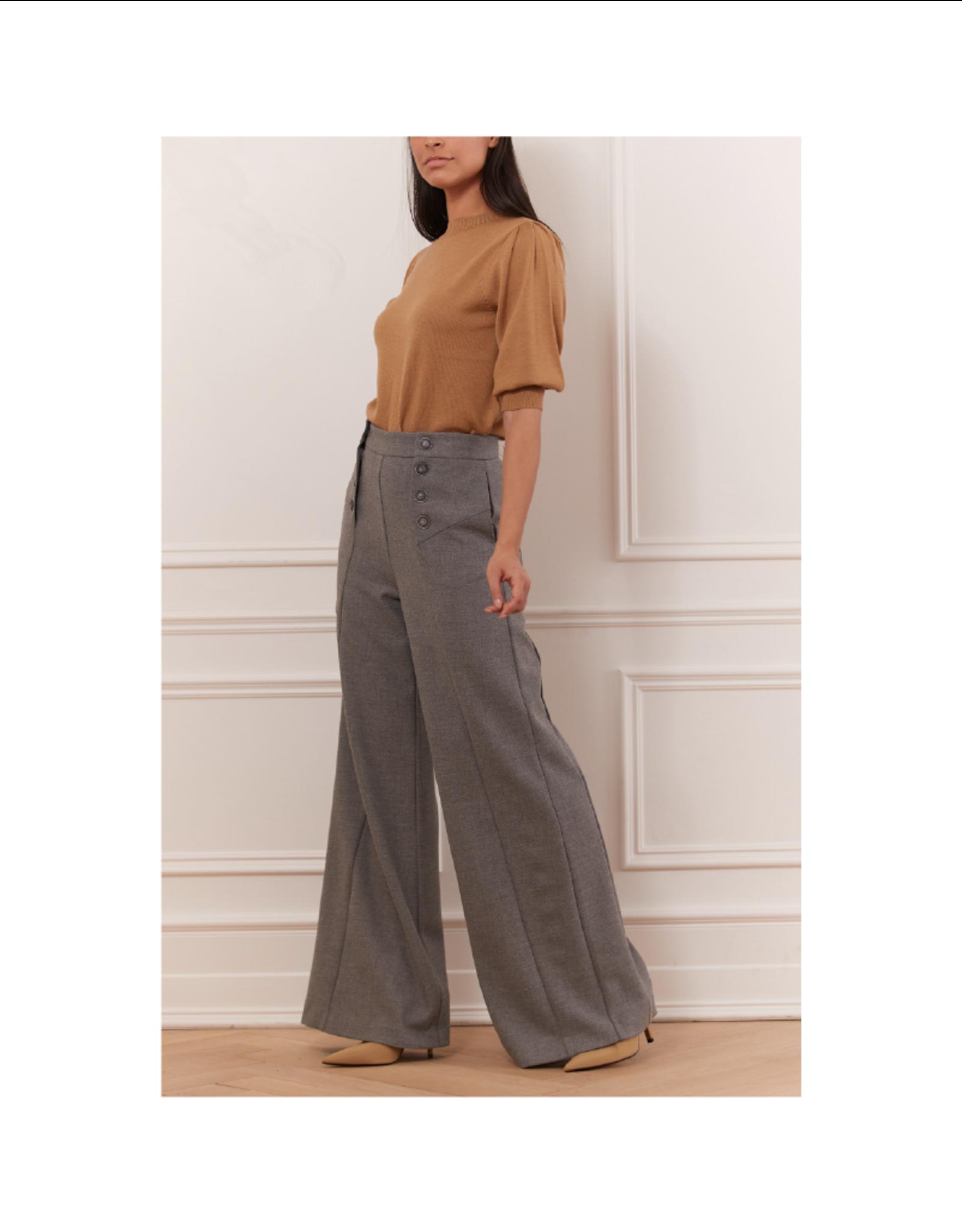 Iris Wide-Leg Button Pant