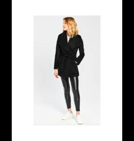 Sentaler Cropped Wide Collar Wrap Coat