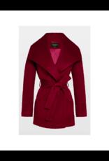 Sentaler Cropped Wide Collar Wrap Coat Garnet Red