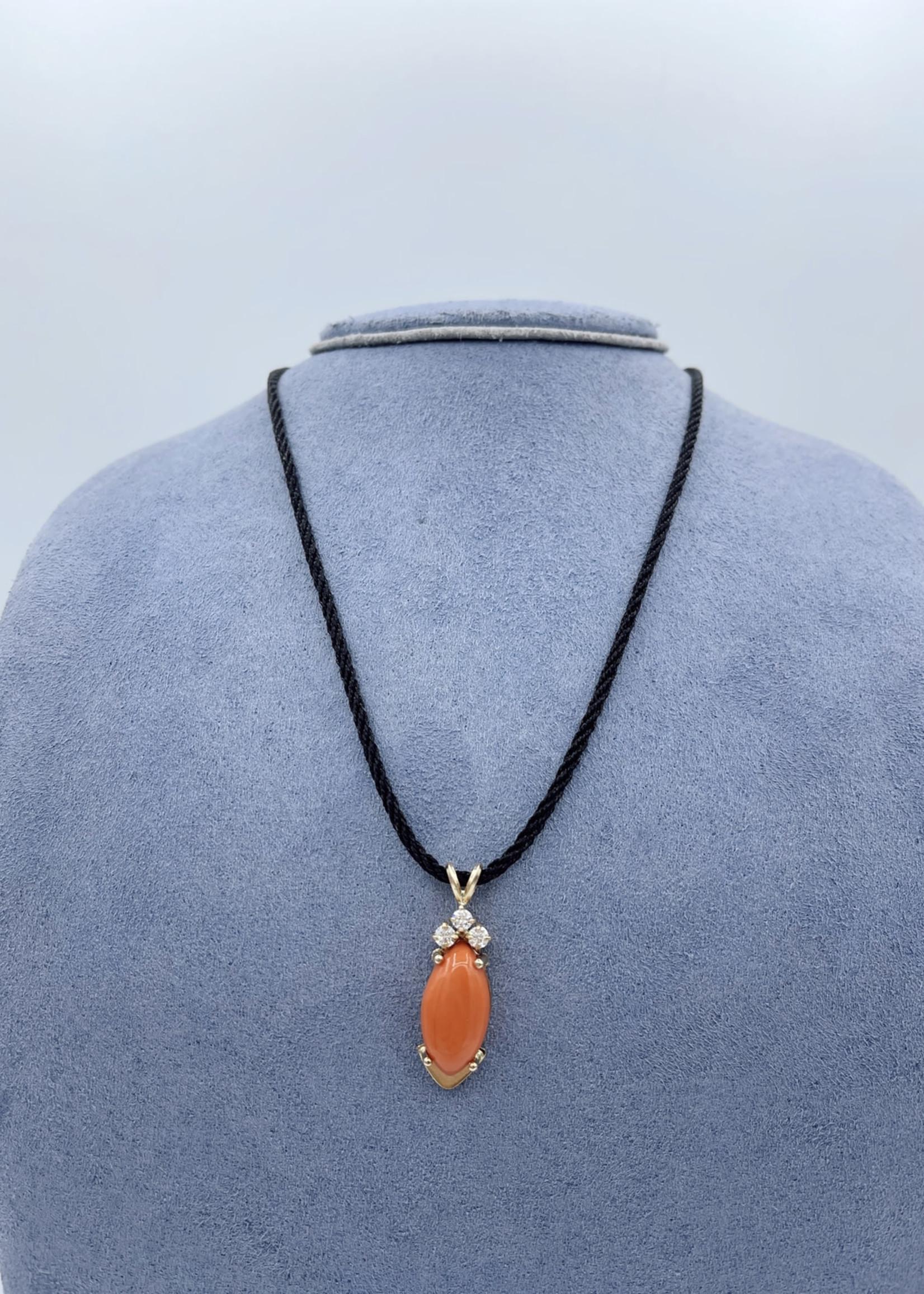 CJ Designs Coral Pendant With Diamonds