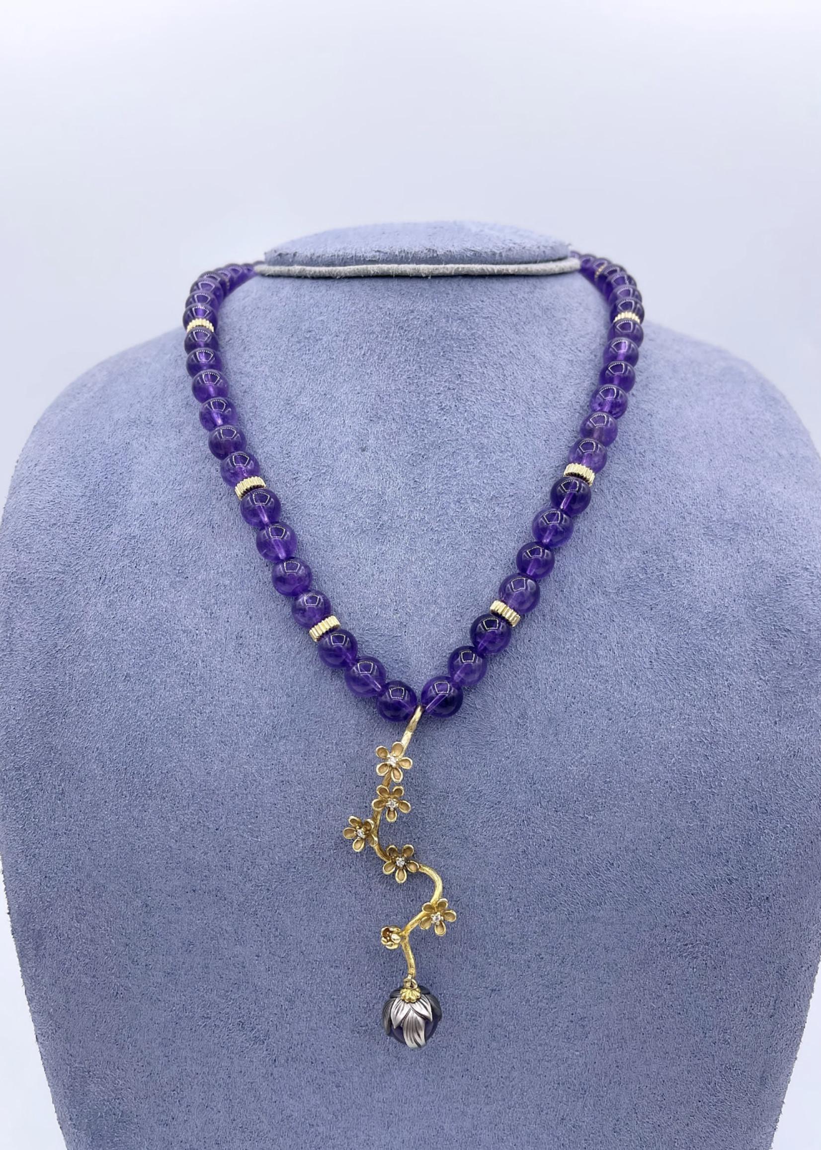 Galatea Amethyst Necklace w/ Tahitian Pearl, Diamond 14k Yellow