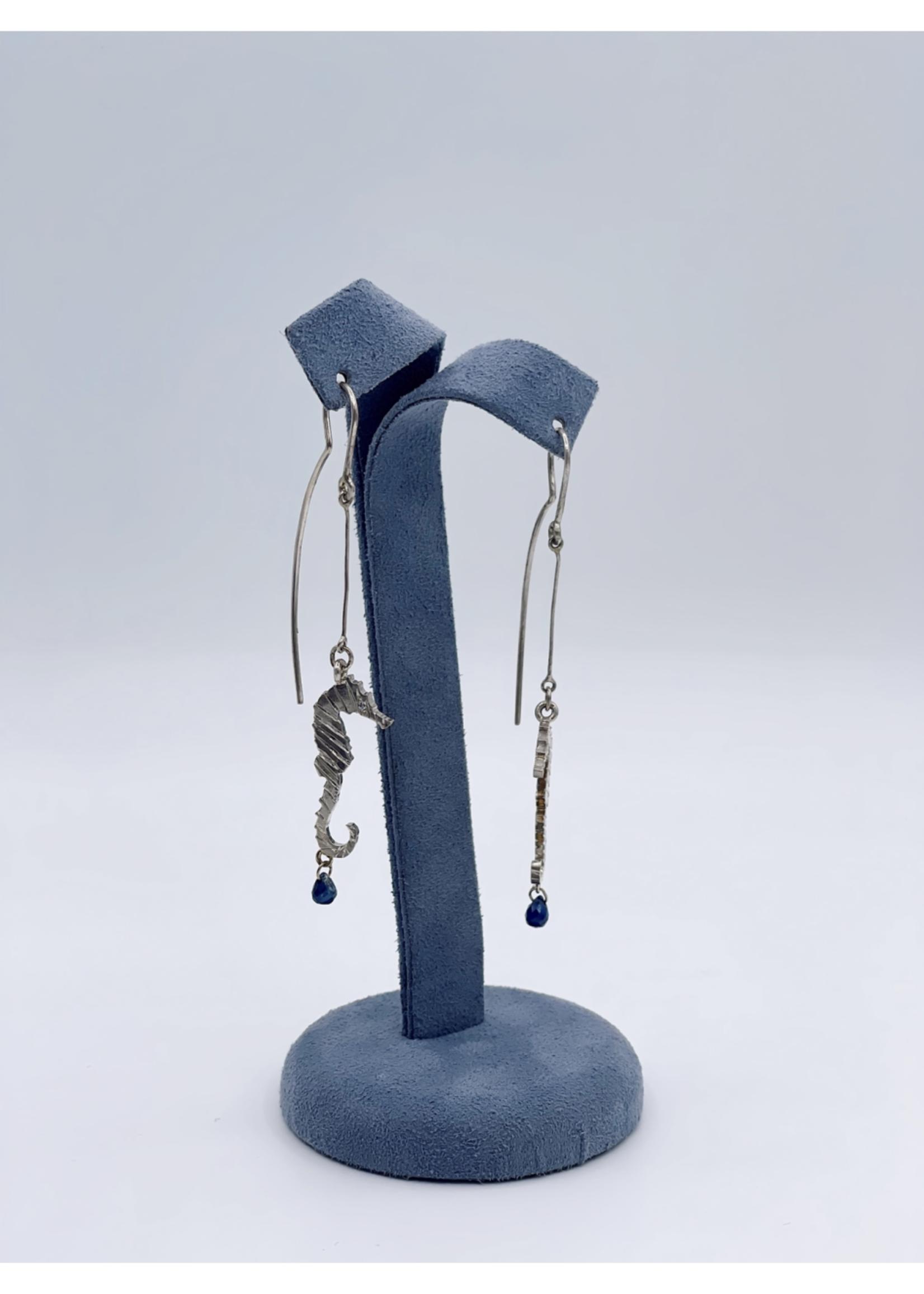CJ Designs Seahorse Earrings with Diamond, Sapphire
