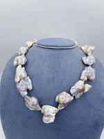 "Shoshana Gol Silver 19"" Pearl Necklace"
