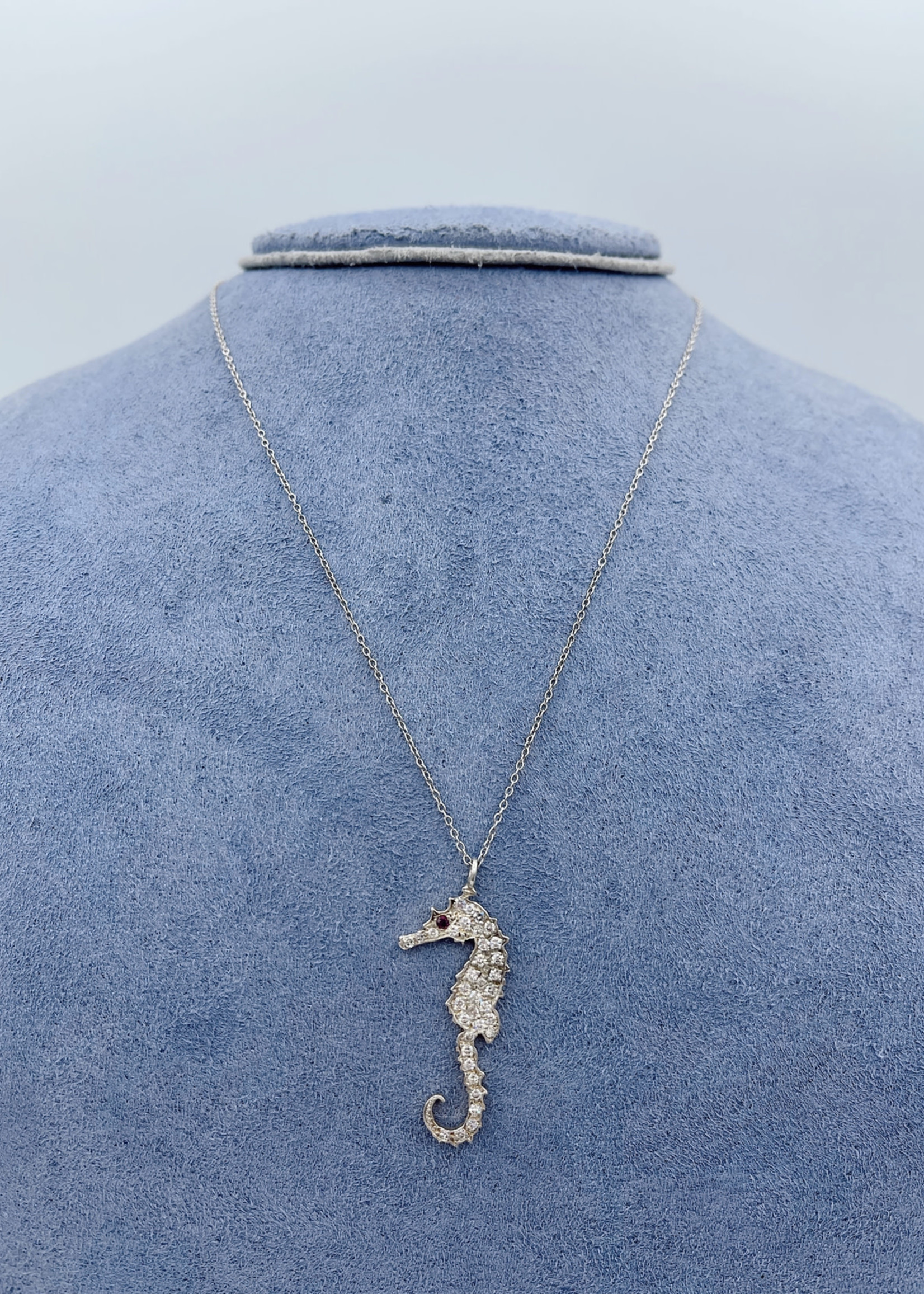 CJ Designs Diamond Seahorse Necklace with Ruby