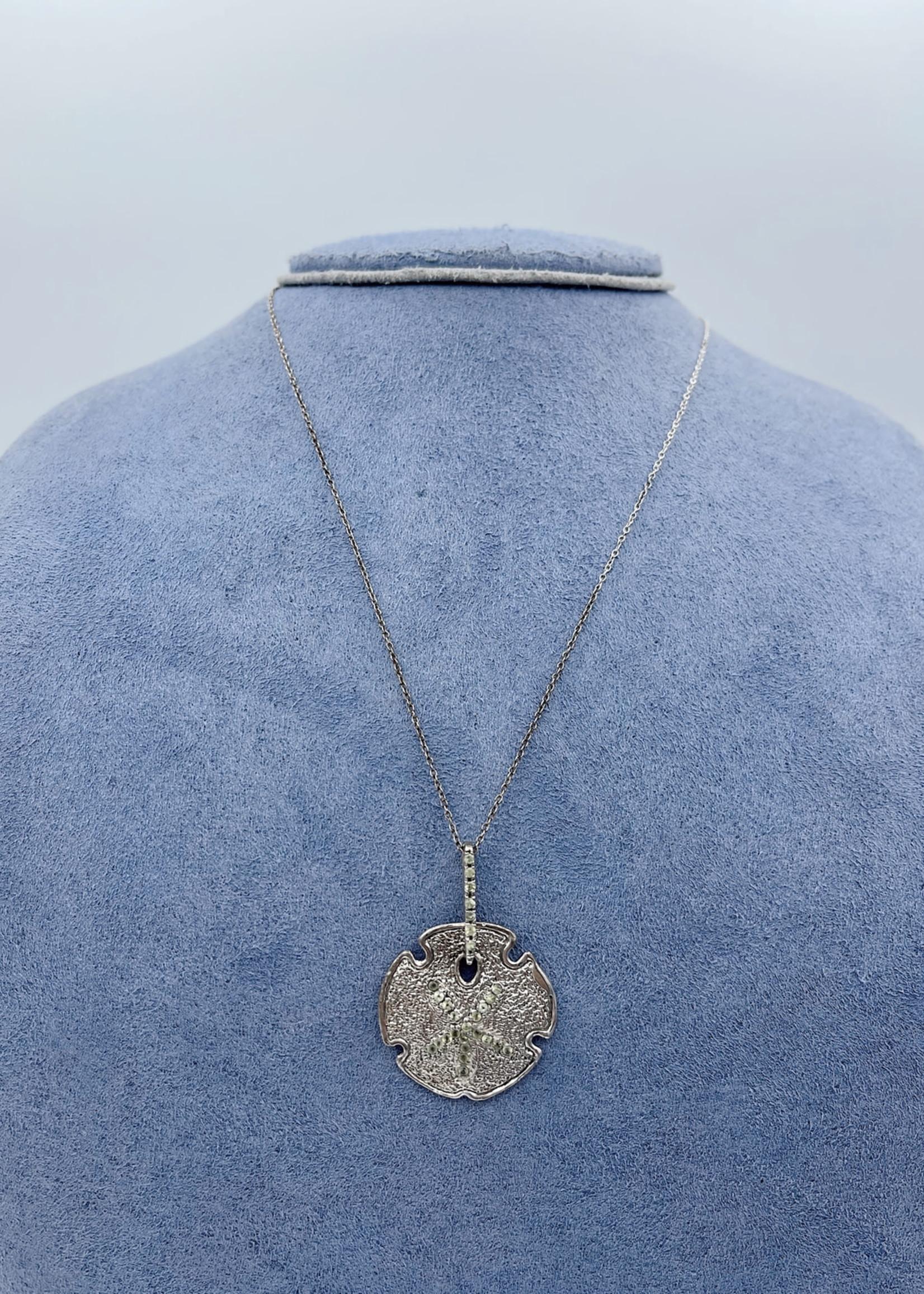 "CJ Designs Sand Dollar Pendant with Peridot 18"""