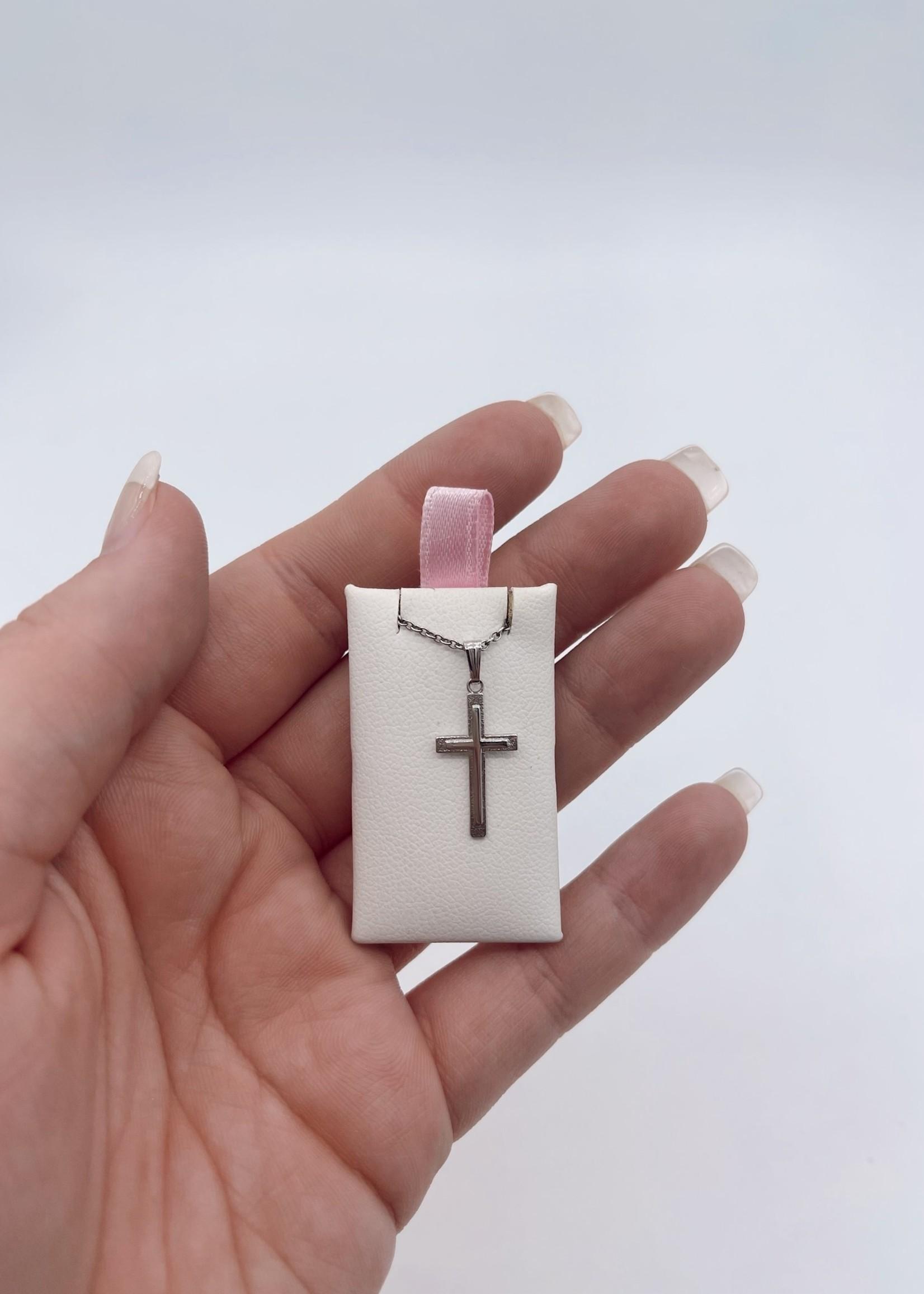 "Marathon Company Starling Silver Baby Cross Necklace 15"""