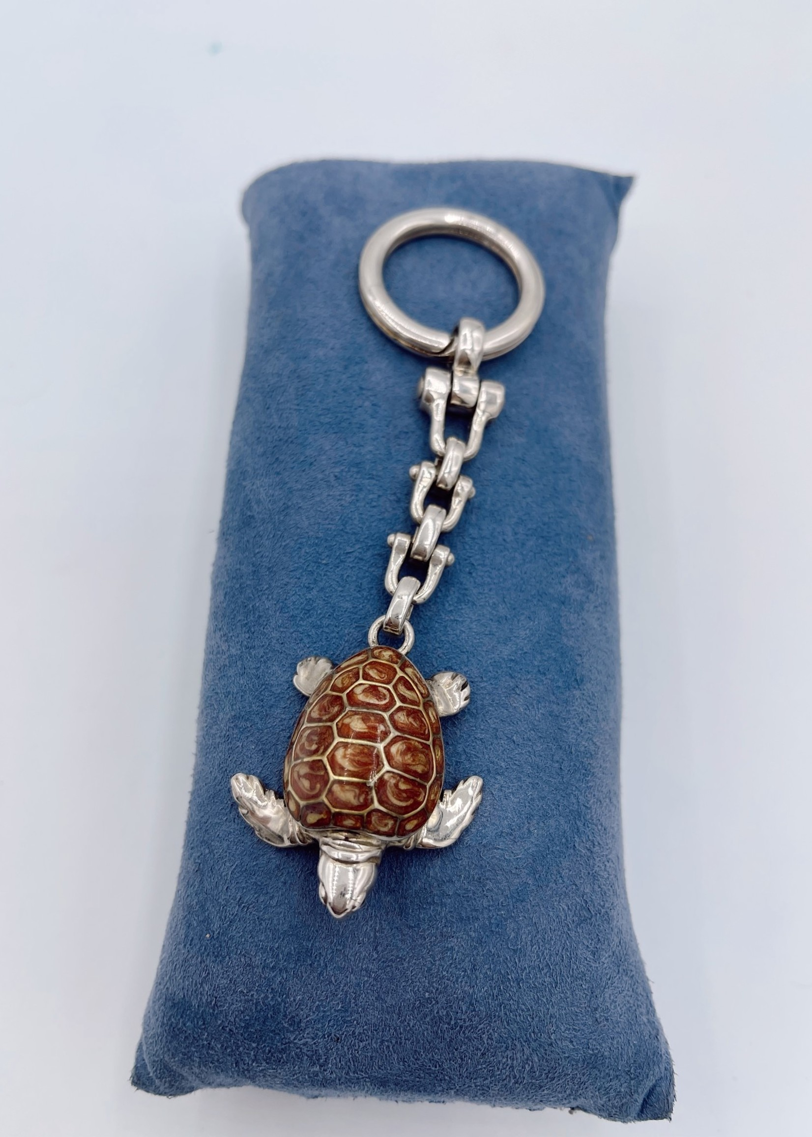 Thistle & Bee Sea Turtle Key Ring Silver