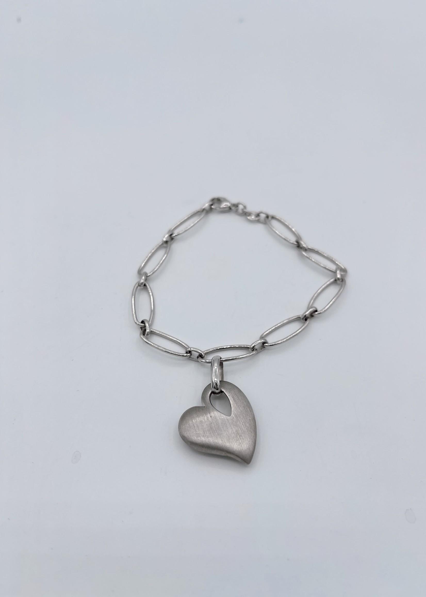 Breuning Inc Sterling Silver Chain Heart Bracelet