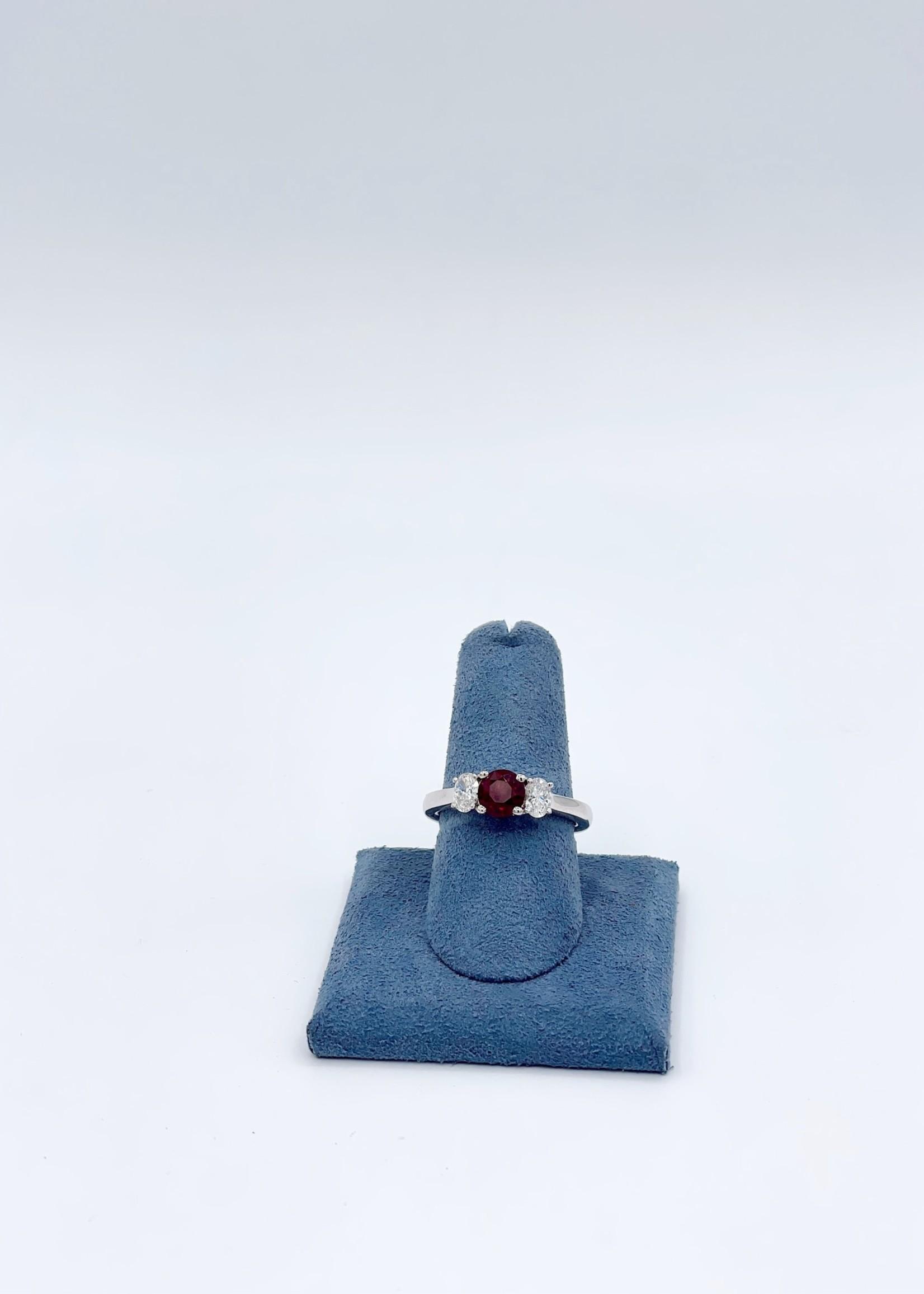 Jye International Memo 3 stone Ring Platinum Mount Ruby 1.3ct OD: .5tdw