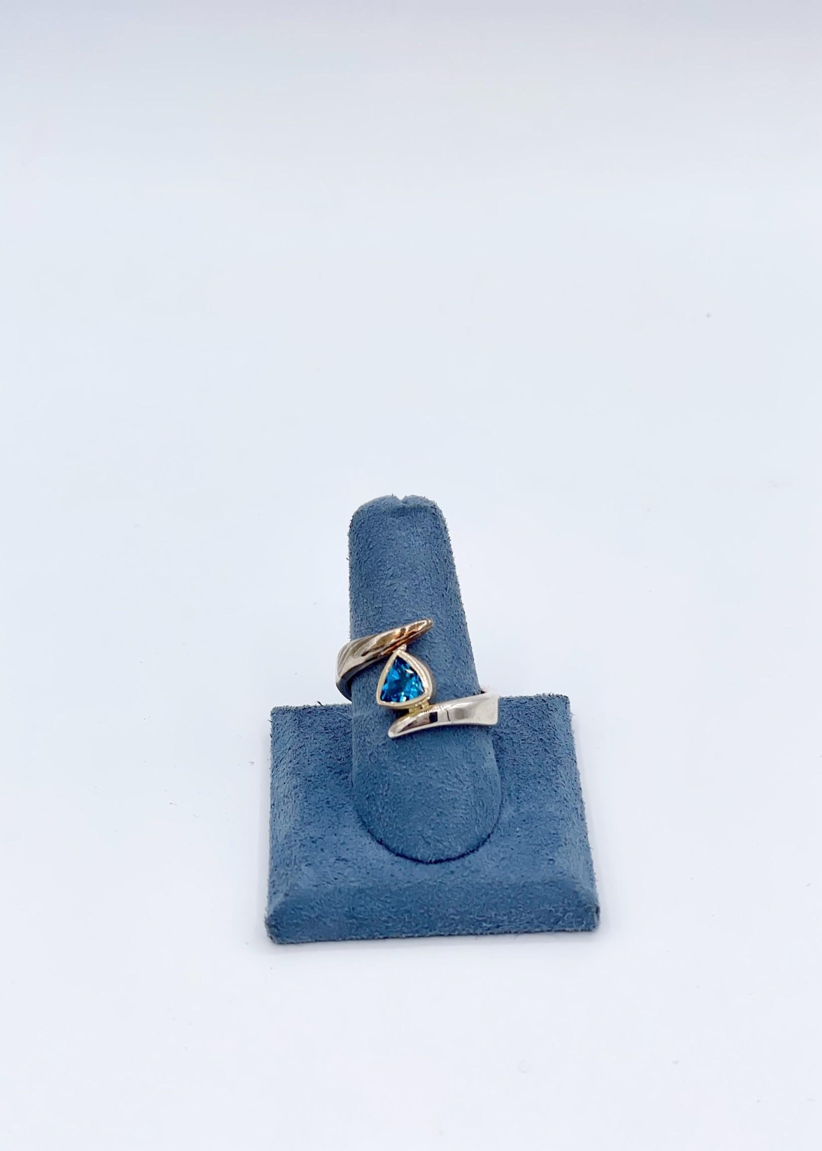CJ Designs Sterl & Mokume w/ trill Blue Topaz