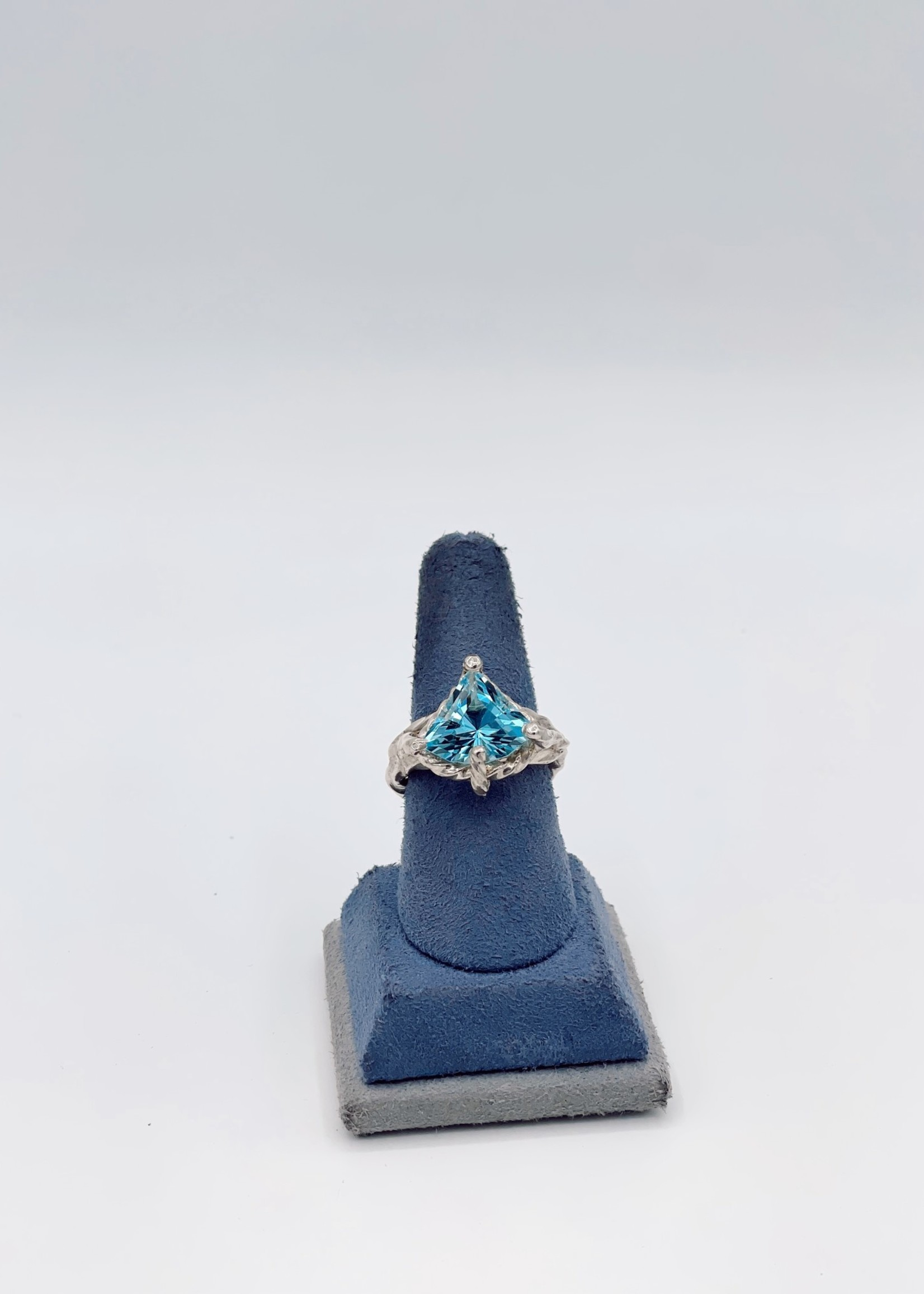 CJ Designs Sterling Silver Ring with Blue Topaz Stone