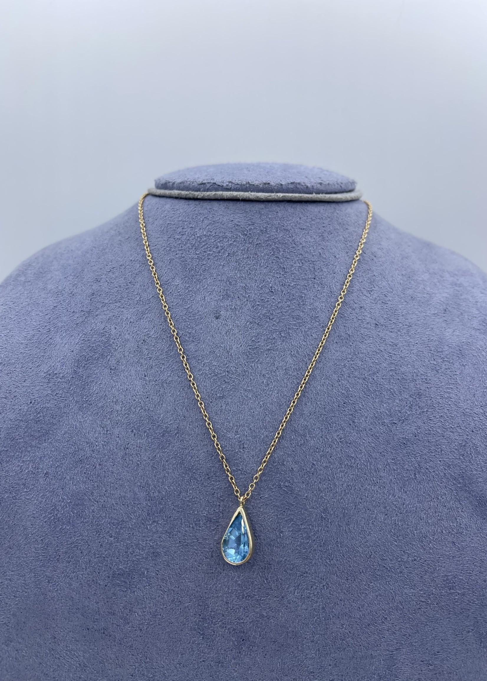 "CJ Designs Blue Topaz Necklace 16"""