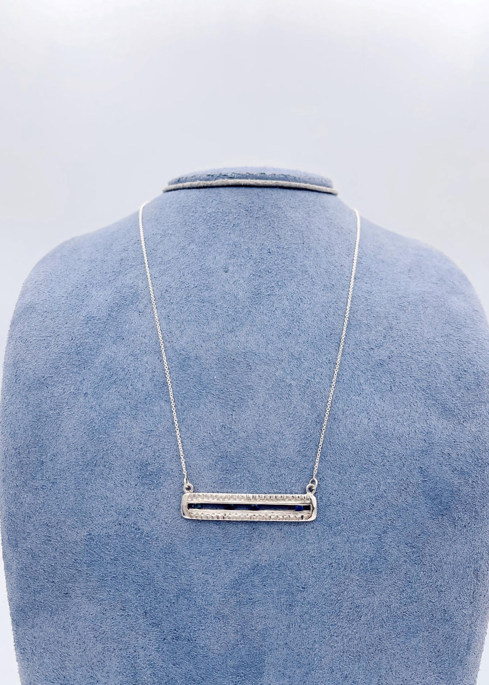 CJ Designs Sterling Silver Blue Sapphire Necklace