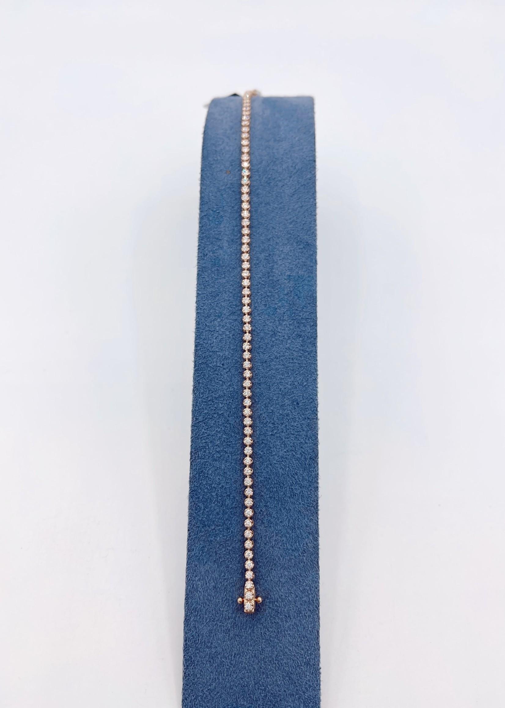 DSL Pearl Rose Gold Diamond Tennis Bracelet 1.05ct