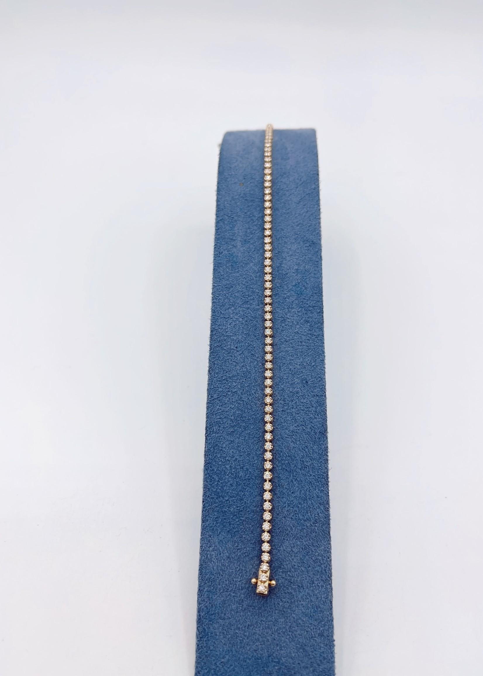 DSL Pearl 18K Y Gold Diamond Tennis Bracelet 1.05ct