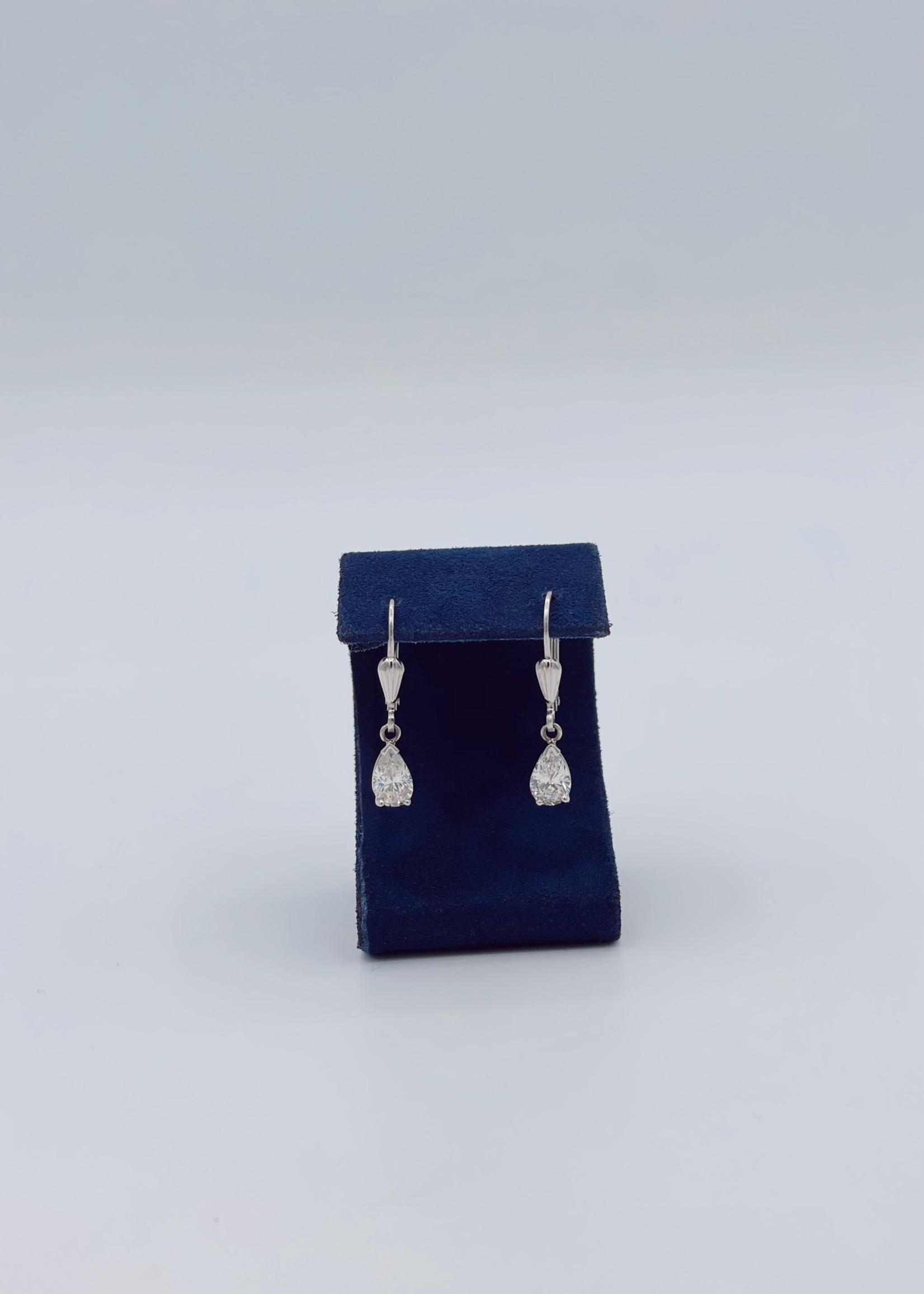 CJ Designs Drop Pear Shape Earring  14k W with 2 Diamonds=1.44 ctw.
