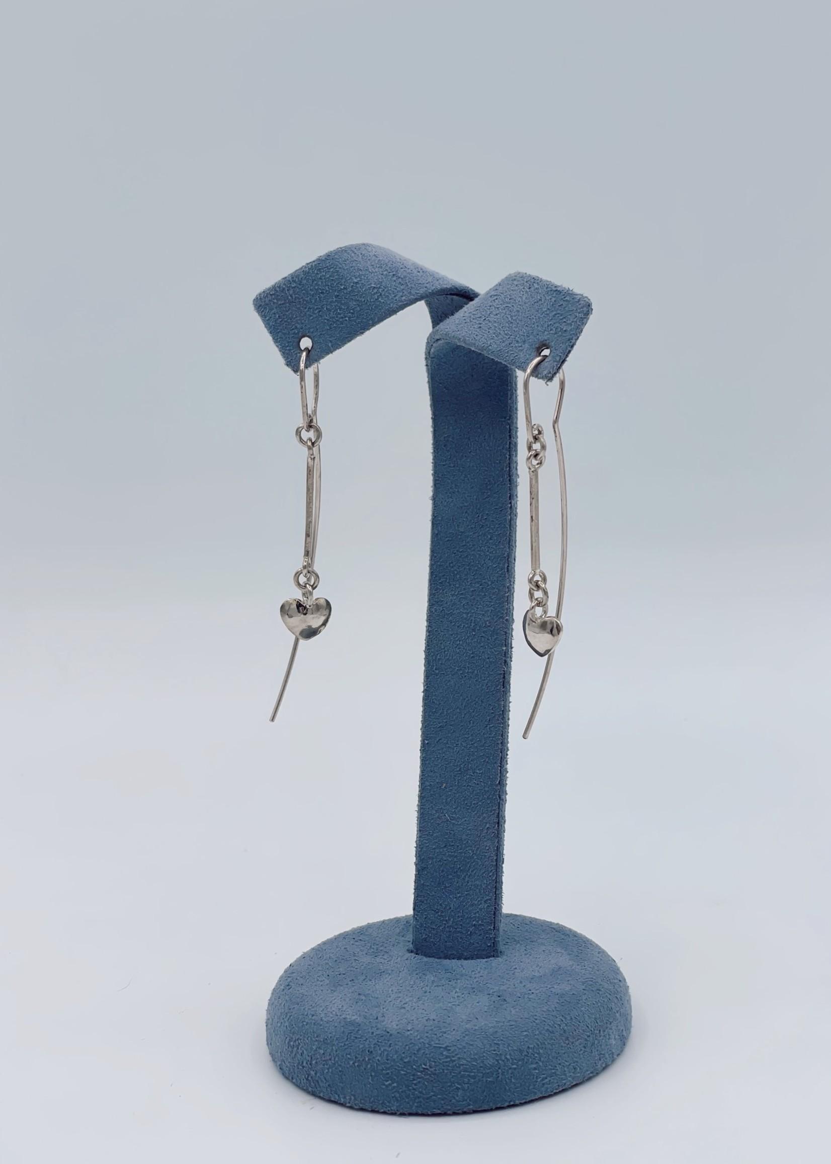 CJ Designs Fashion Earrings Drop Hearts Sterling Silver