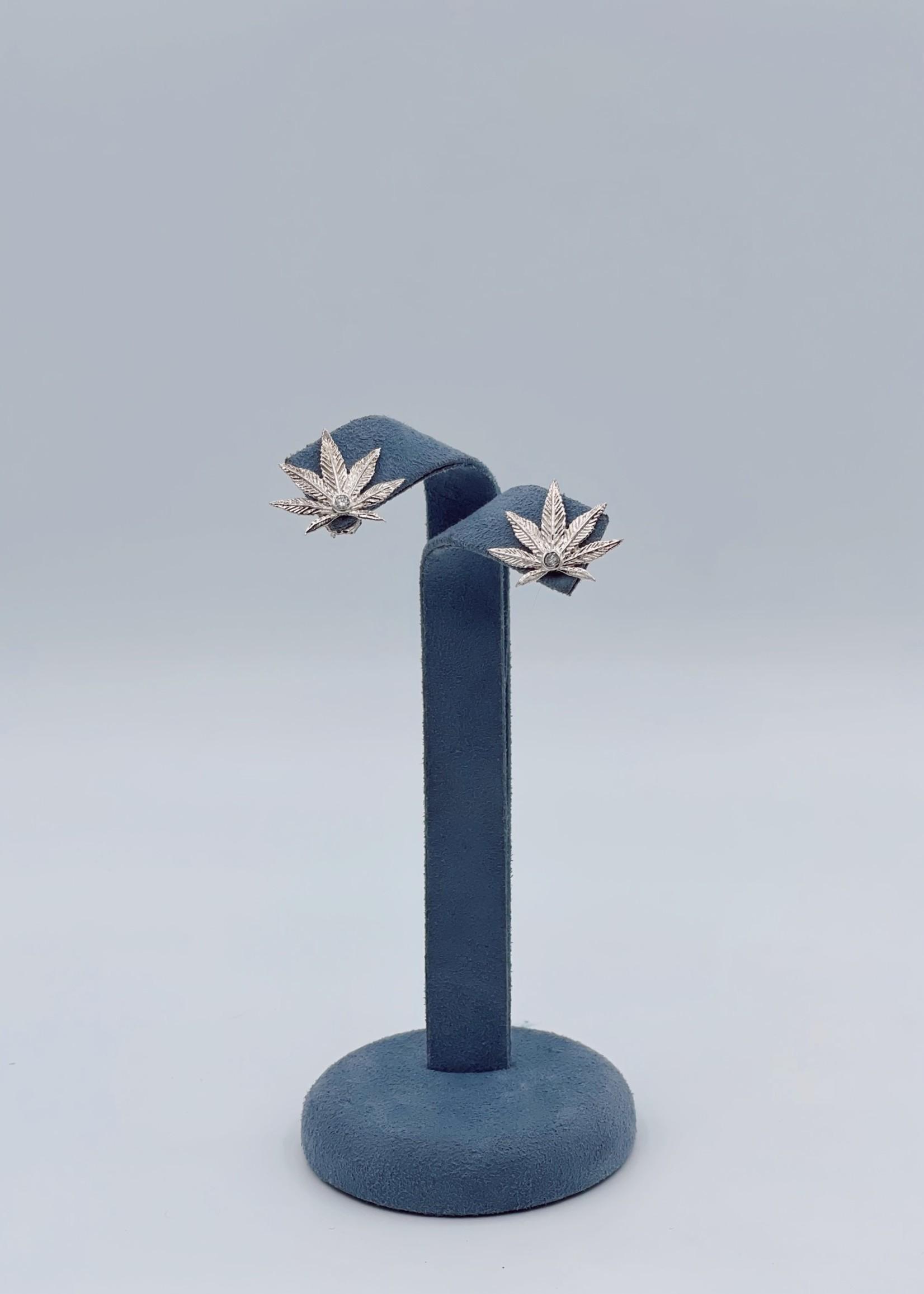 CJ Designs Diamond Weed Earrings