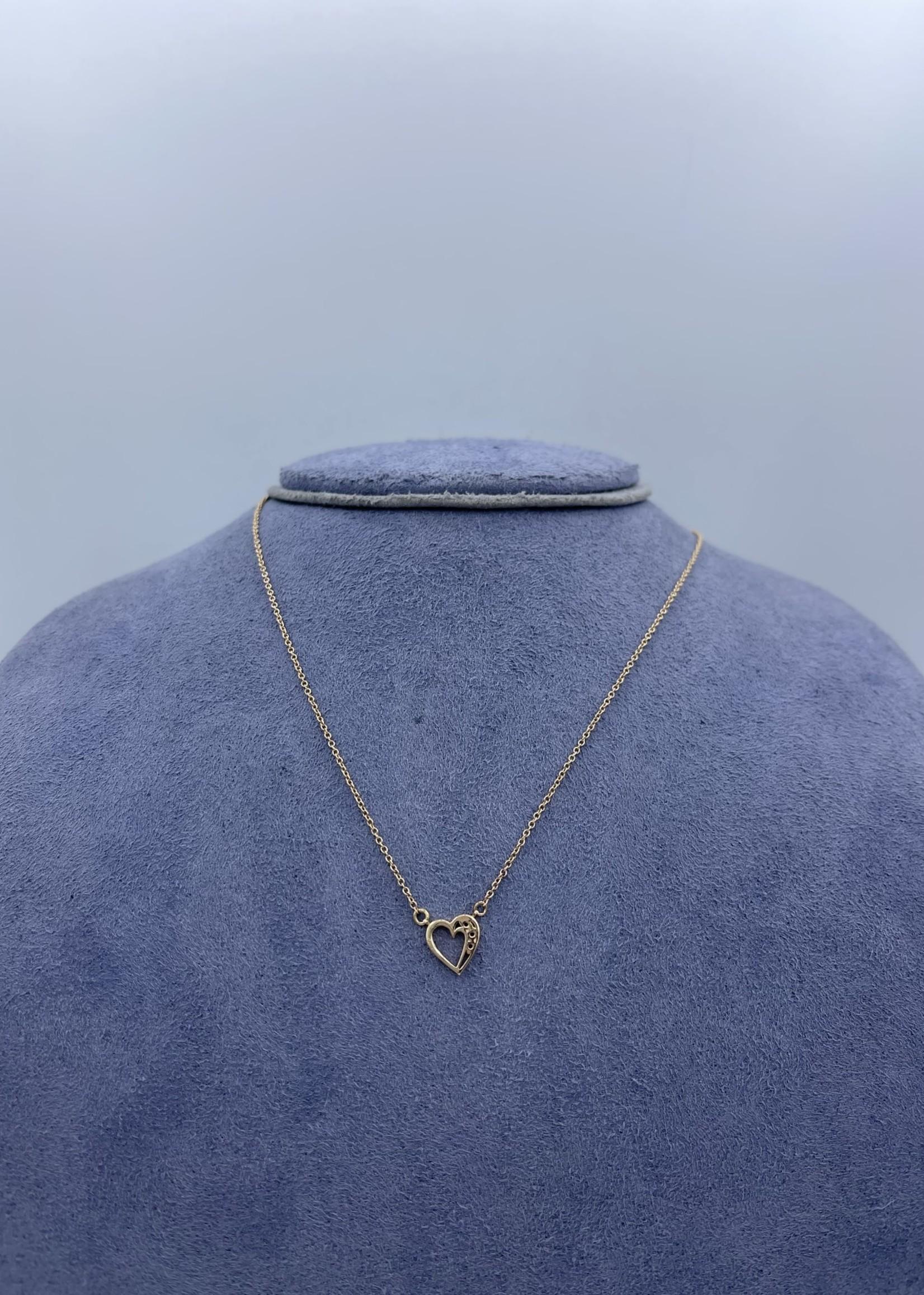 CJ Designs Diamond Heart Necklace 14k Rose