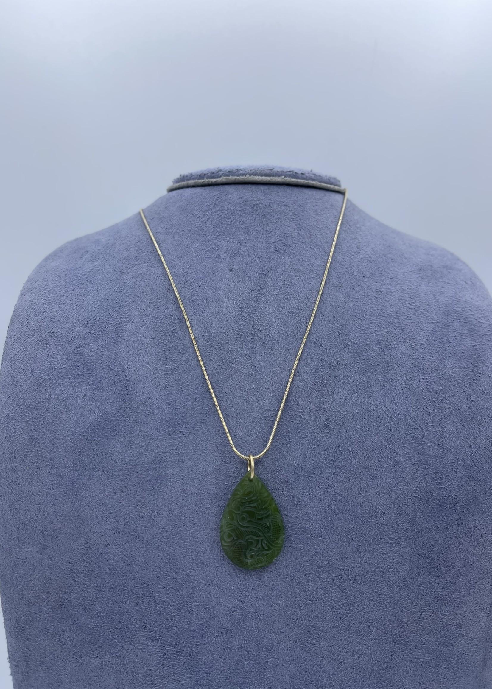 CJ Designs Gold Jade Stone Pendant