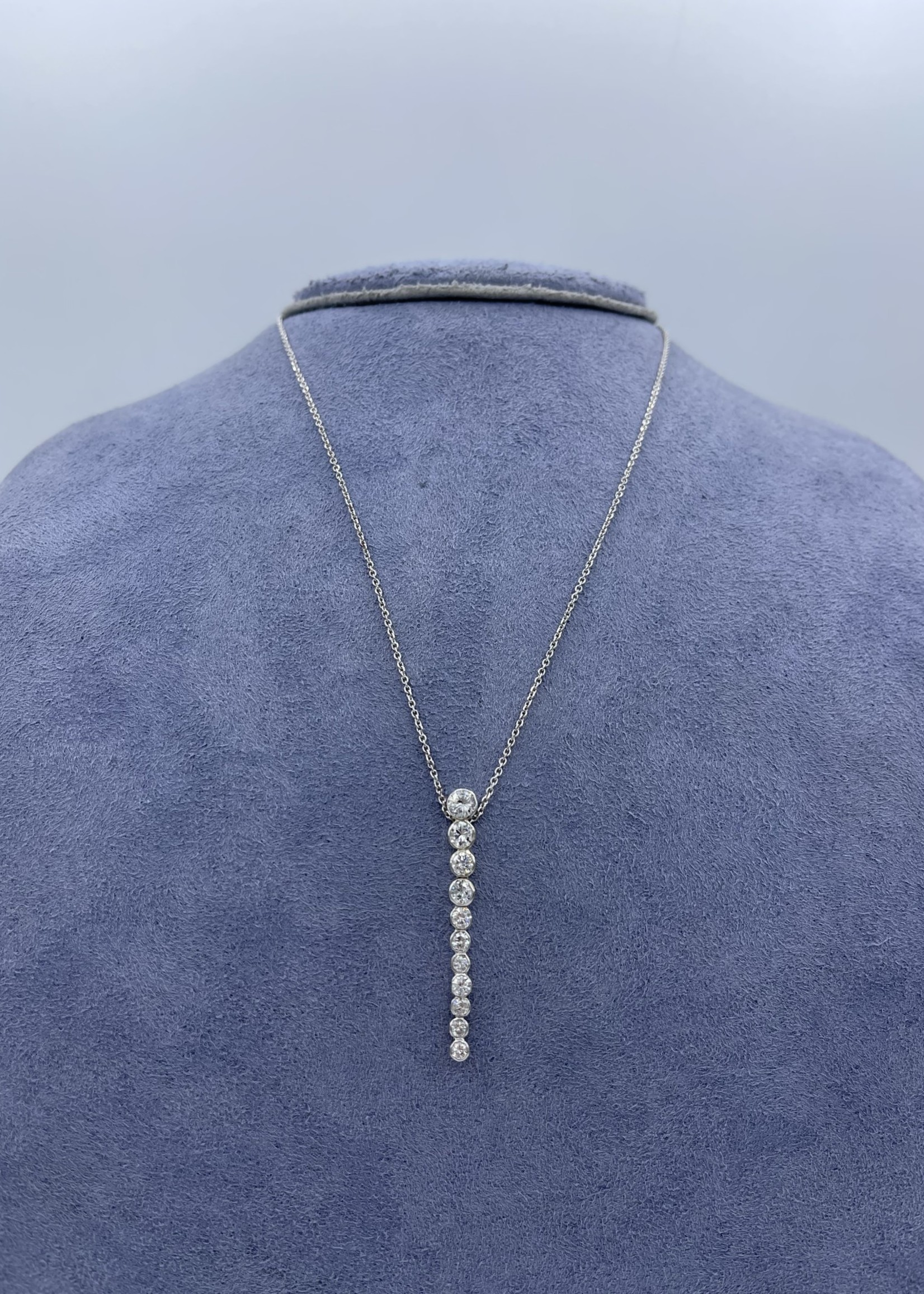 CJ Designs Stacked Dia Necklace 1ctw