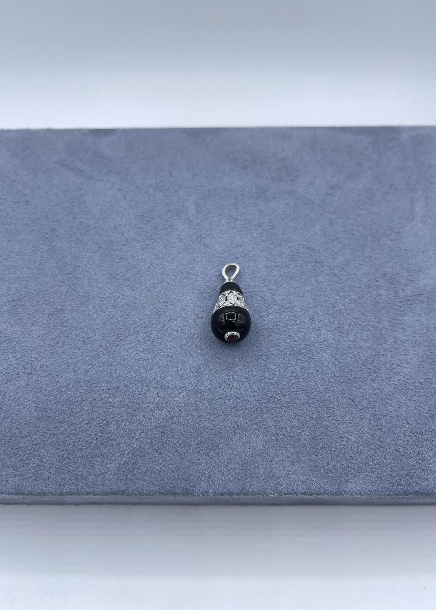CJ Designs Ruby Onyx and Diamond Pendant 14k White