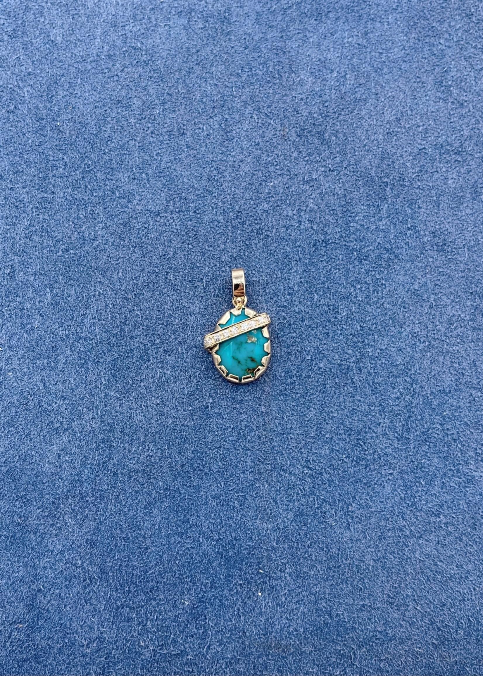 CJ Designs Turquoise Diamond Pendant 14k Yellow