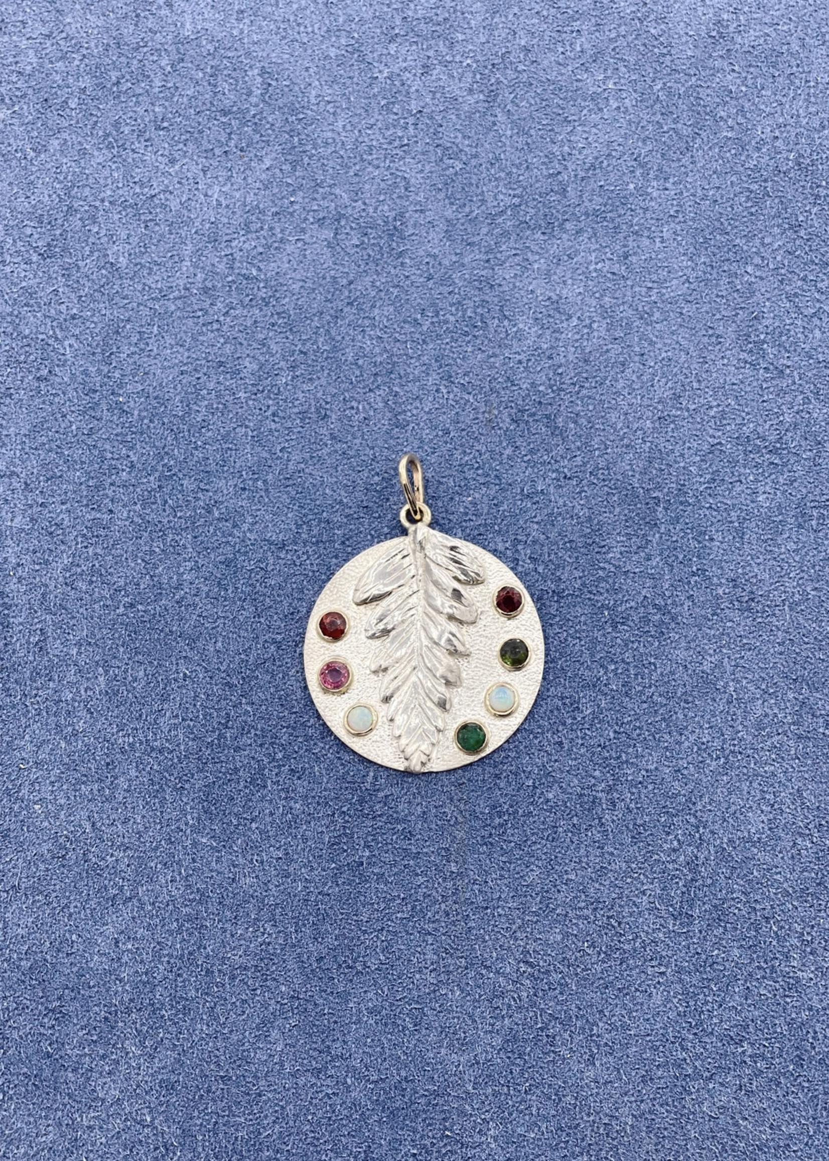 CJ Designs Leaf Pendant with Multi Gems