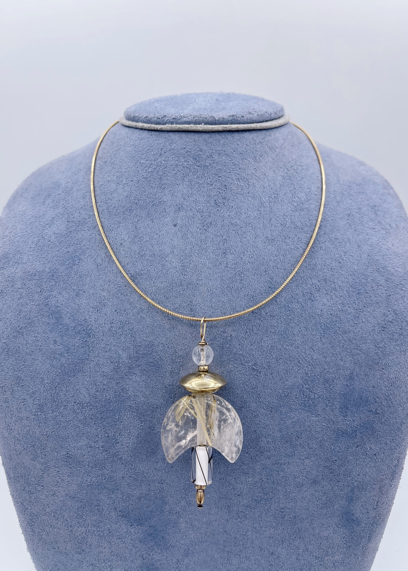 CJ Designs Moonstone Necklace w/ Chain 14k Yellow