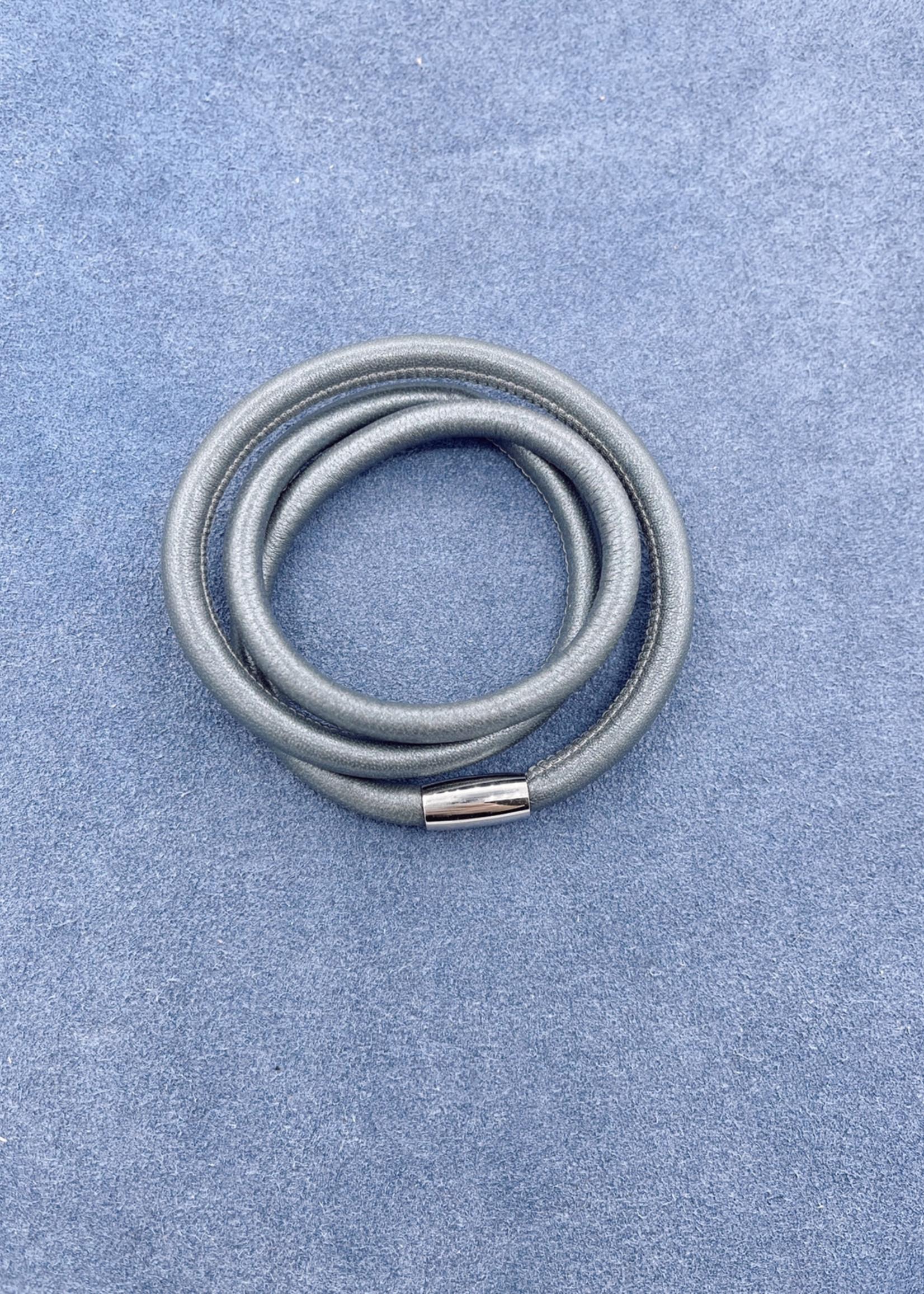 Stardom Grey Leather Charm Bracelet