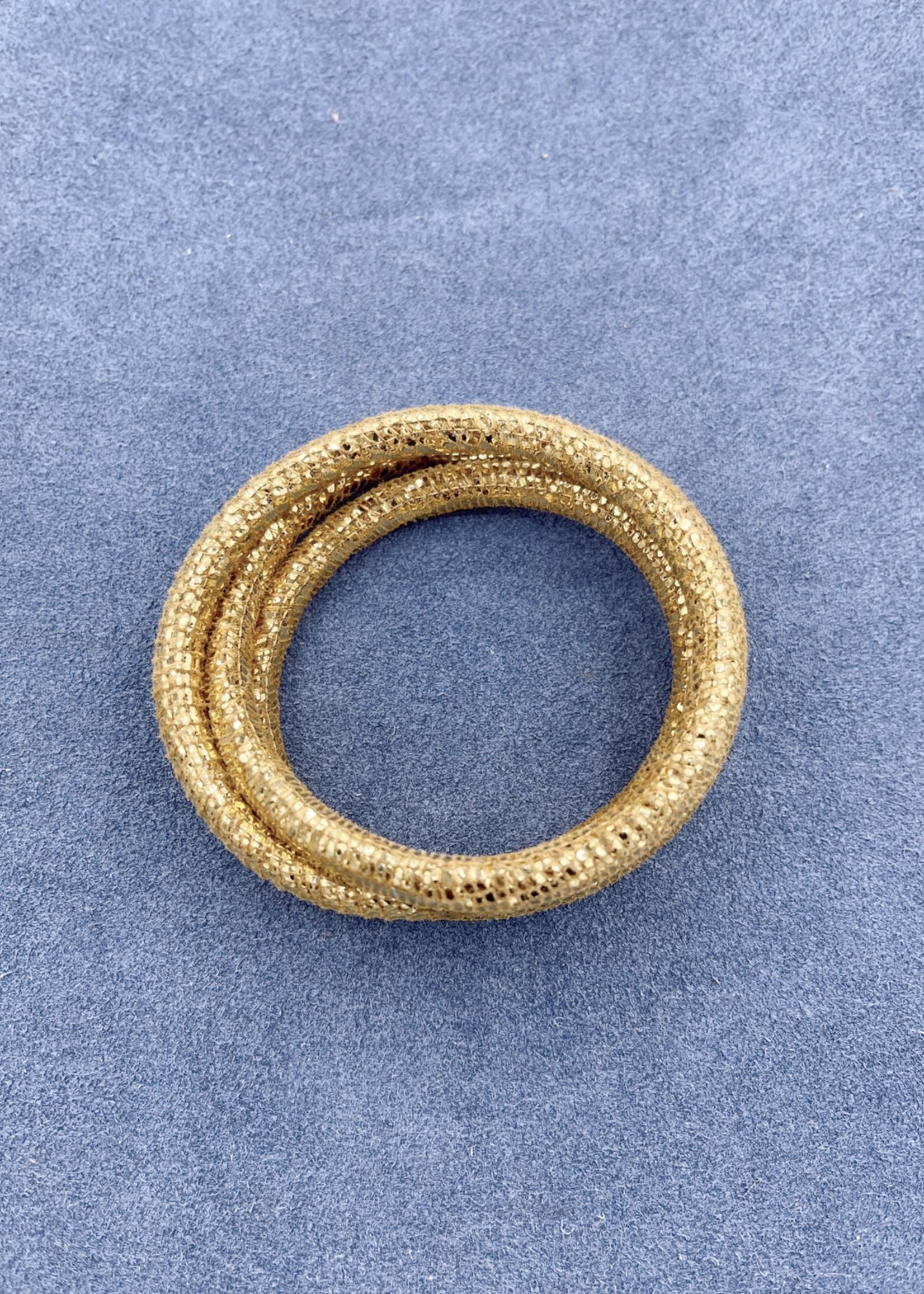Stardom Gold Glitter Leather Charm Bracelet