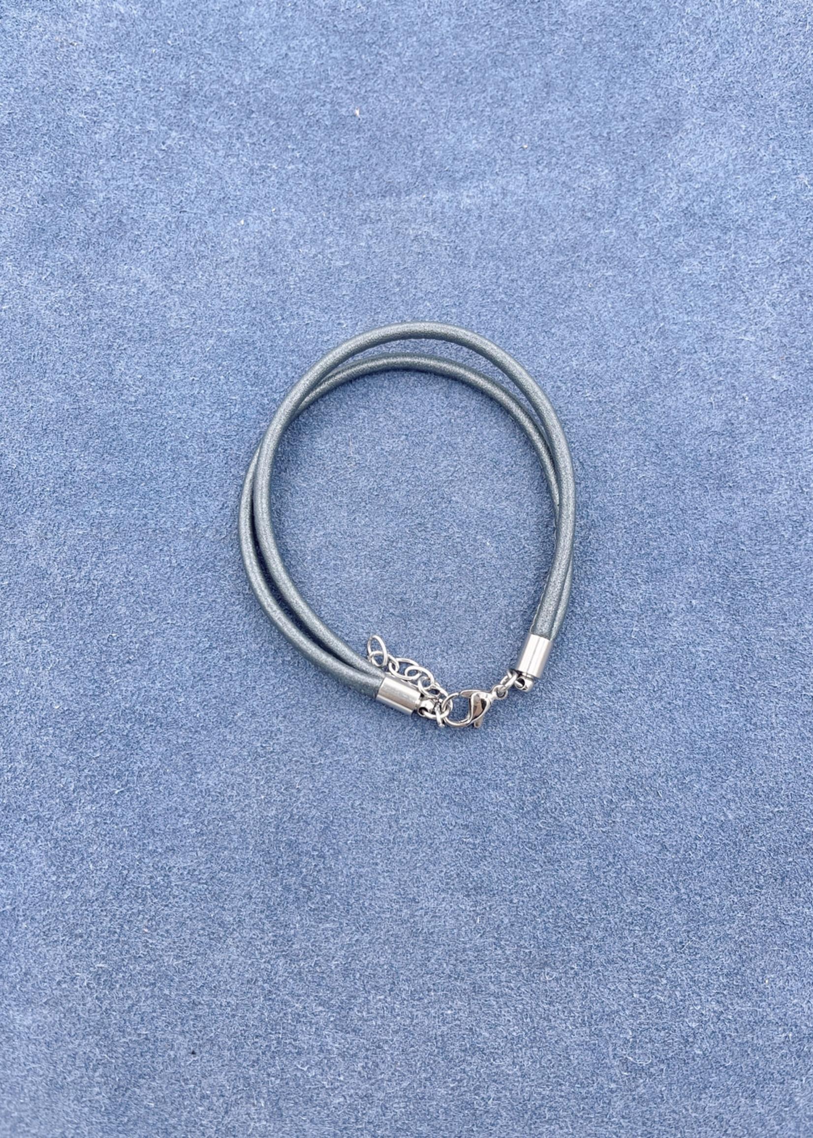 Stardom Grey Double Strand Leather Charm Bracelet