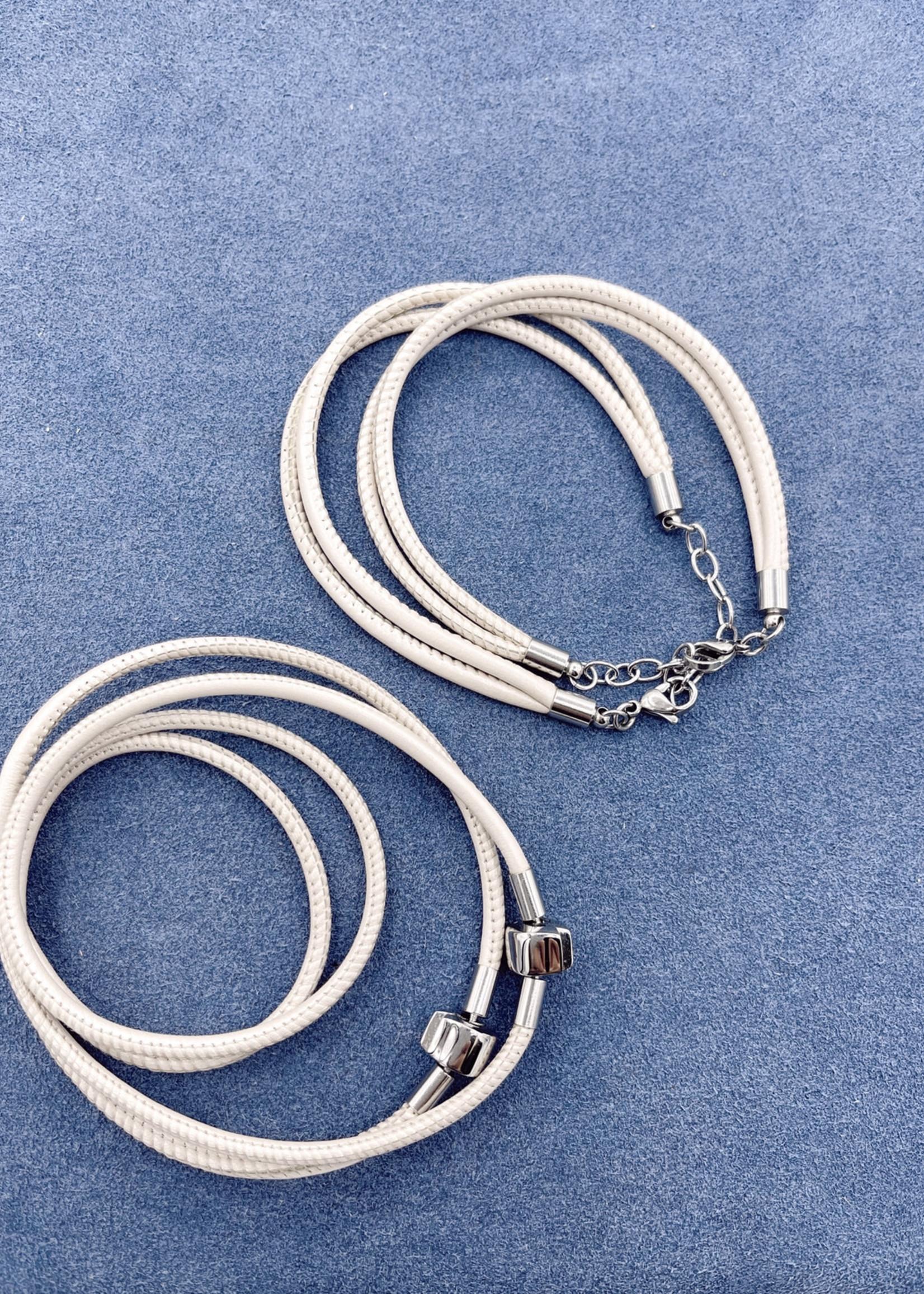 Stardom Beige Double Strand Leather Charm Bracelet