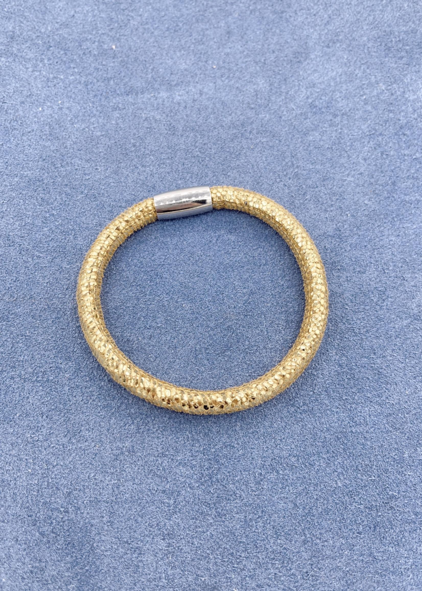 Stardom Gold with Glitter Single Strand Leather Charm Bracelet