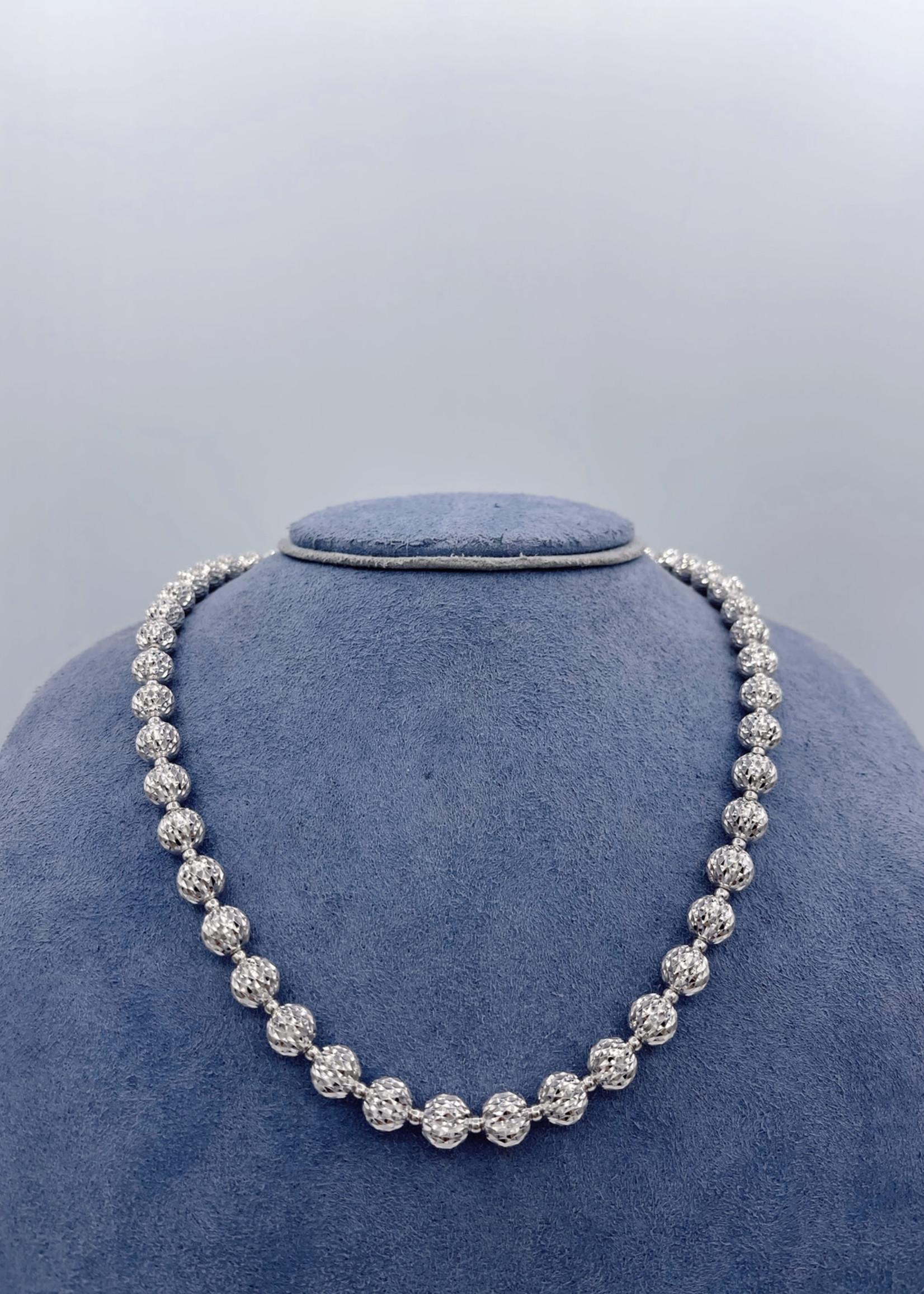 """Officina Bernardi Beads Necklace 18"""" Sterling Silver"""