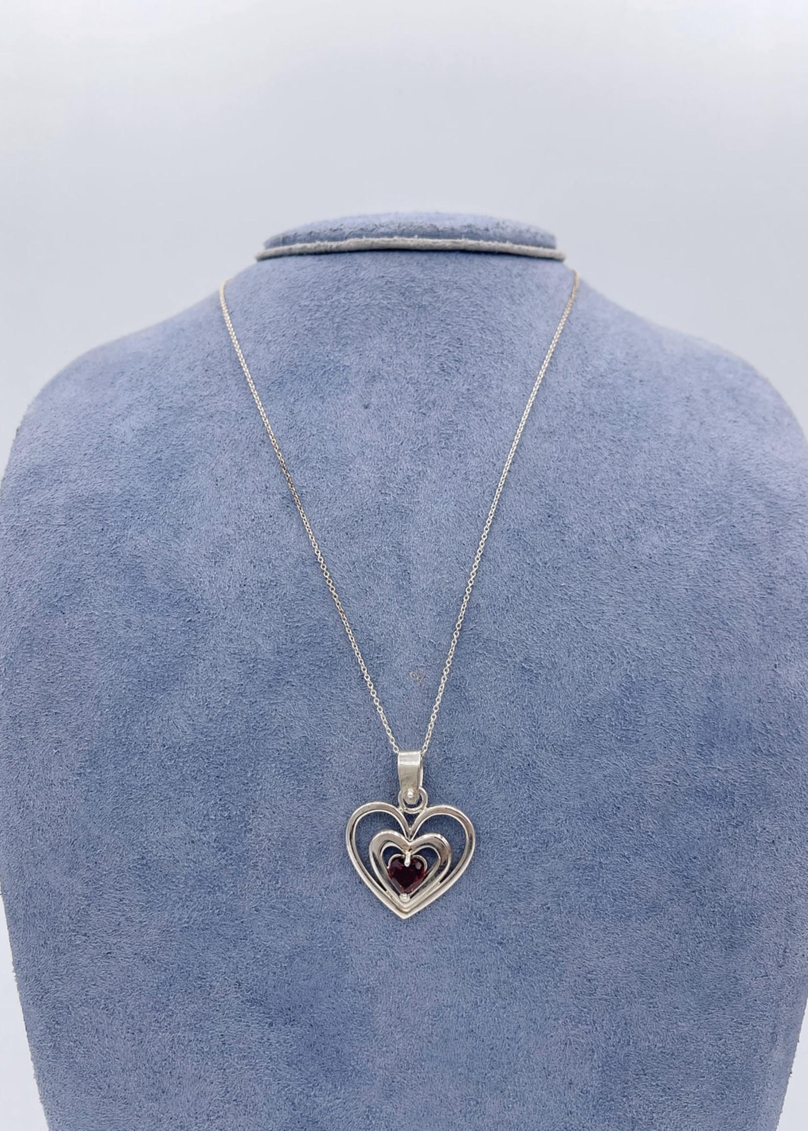 CJ Designs Garnet Heart Pendant