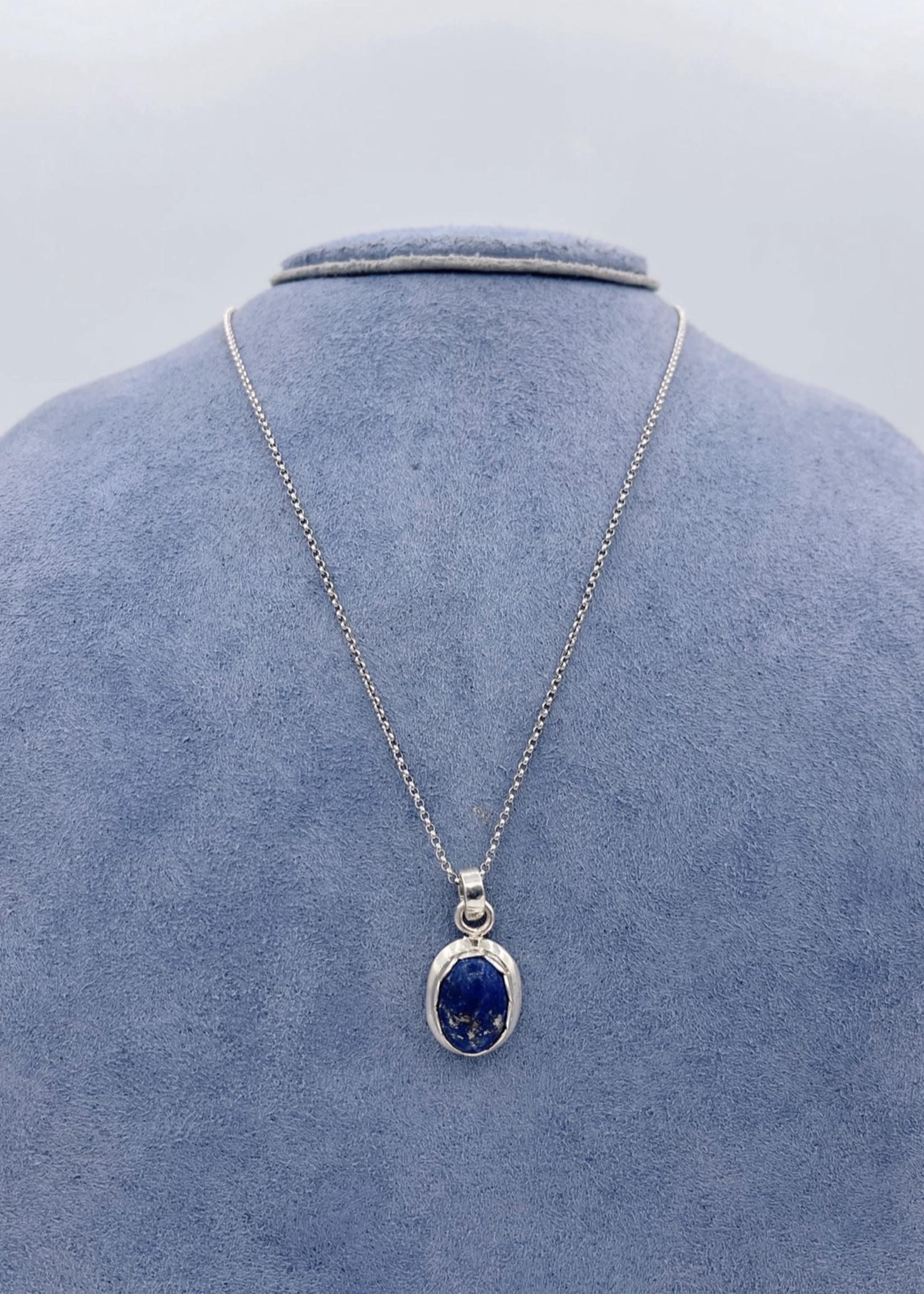 CJ Designs ?SS Lapis Necklace w/ Chain