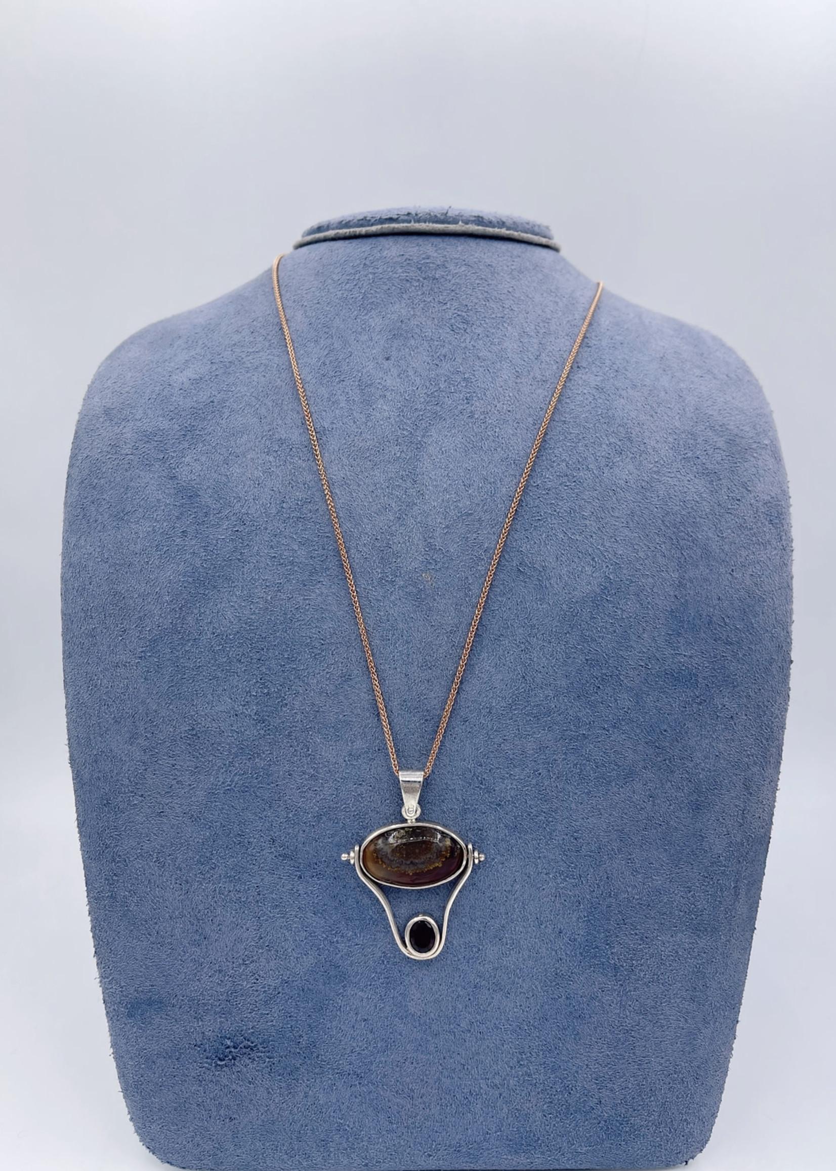 CJ Designs Rhodalite Garnet, Agate Pendant Silver