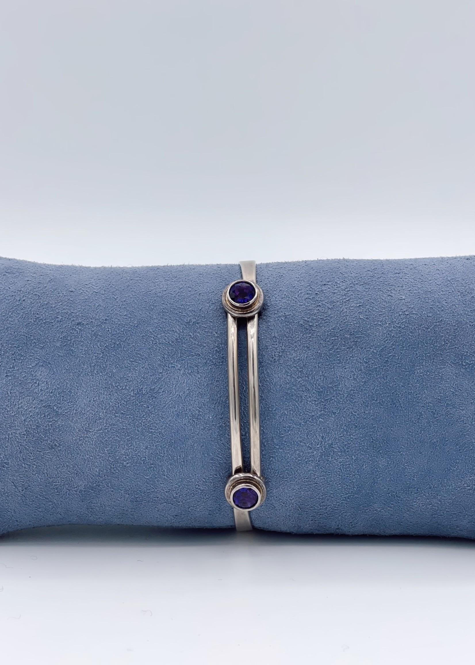 CJ Designs Silver Amethyst Stone Bracelet