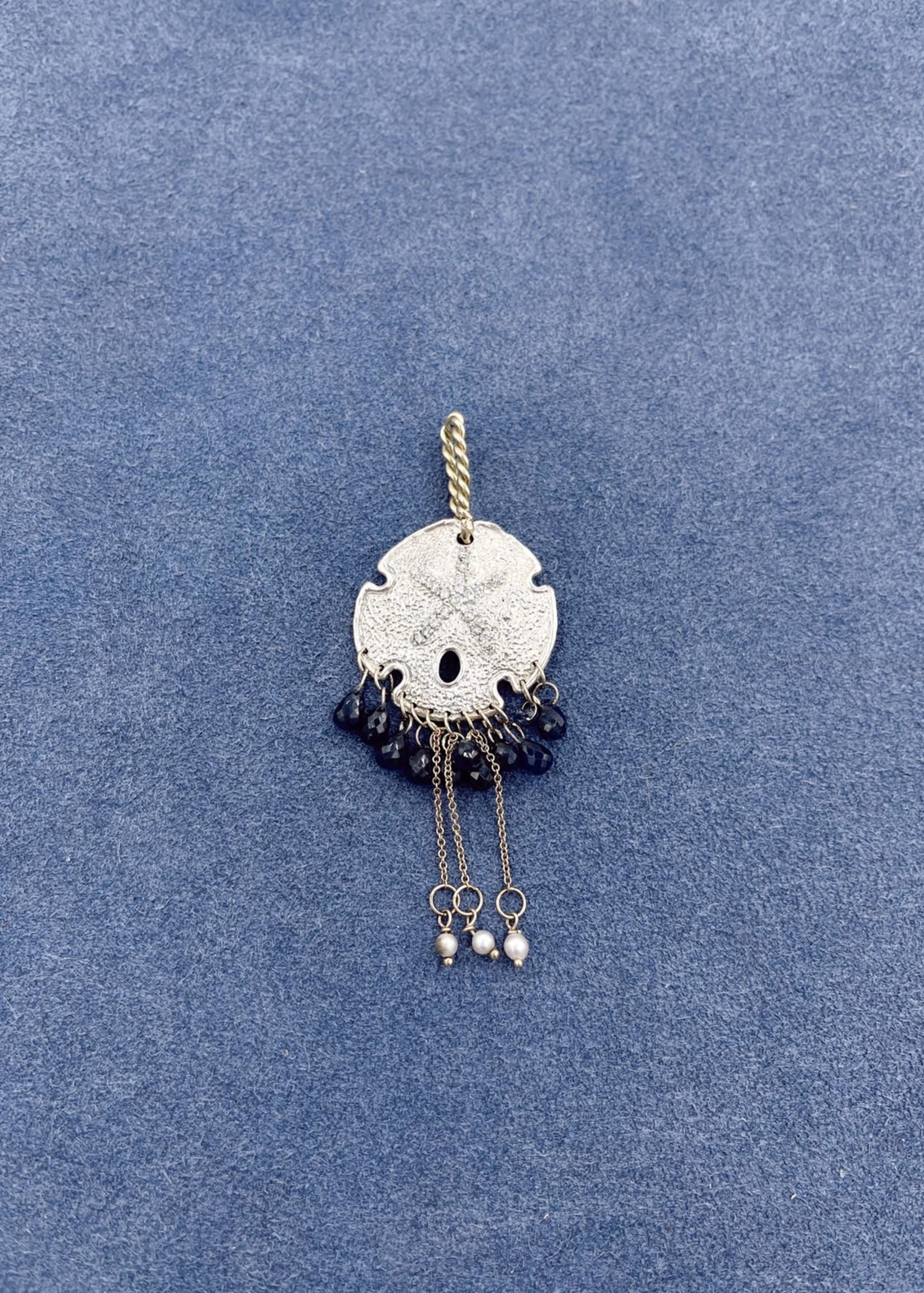 CJ Designs Sand Dollar Pendant with Sapphire, Pearl, Diamond