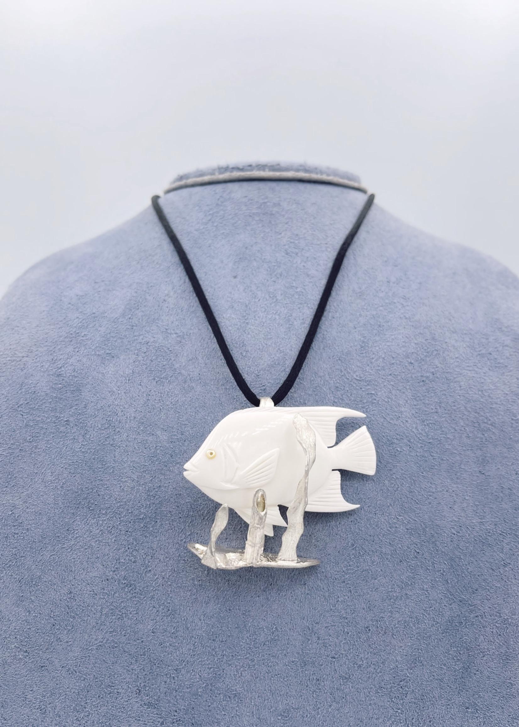 CJ Designs Fish Whale Bone Craved Necklace