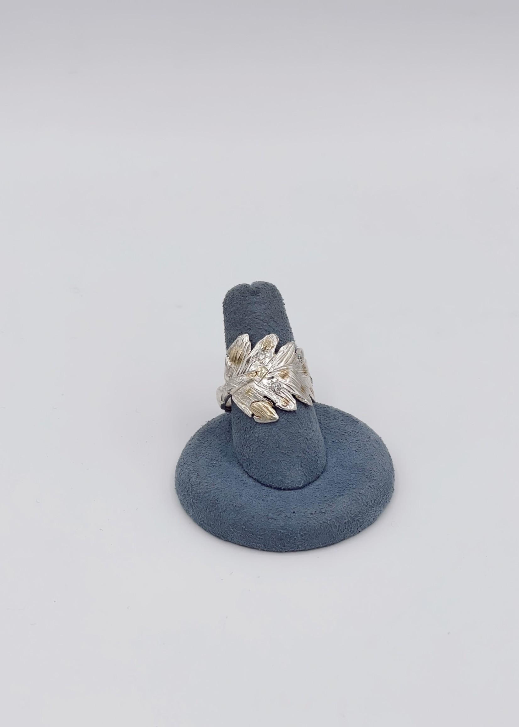 CJ Designs Sterling Silver, Yellow Gold Leaf Diamond Ring