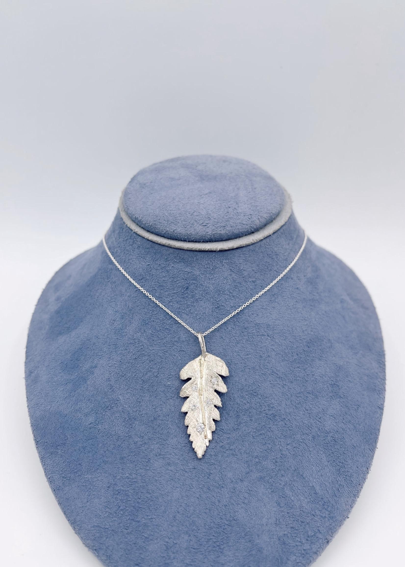 CJ Designs Sterling Silver Leaf Pendant with Diamonds